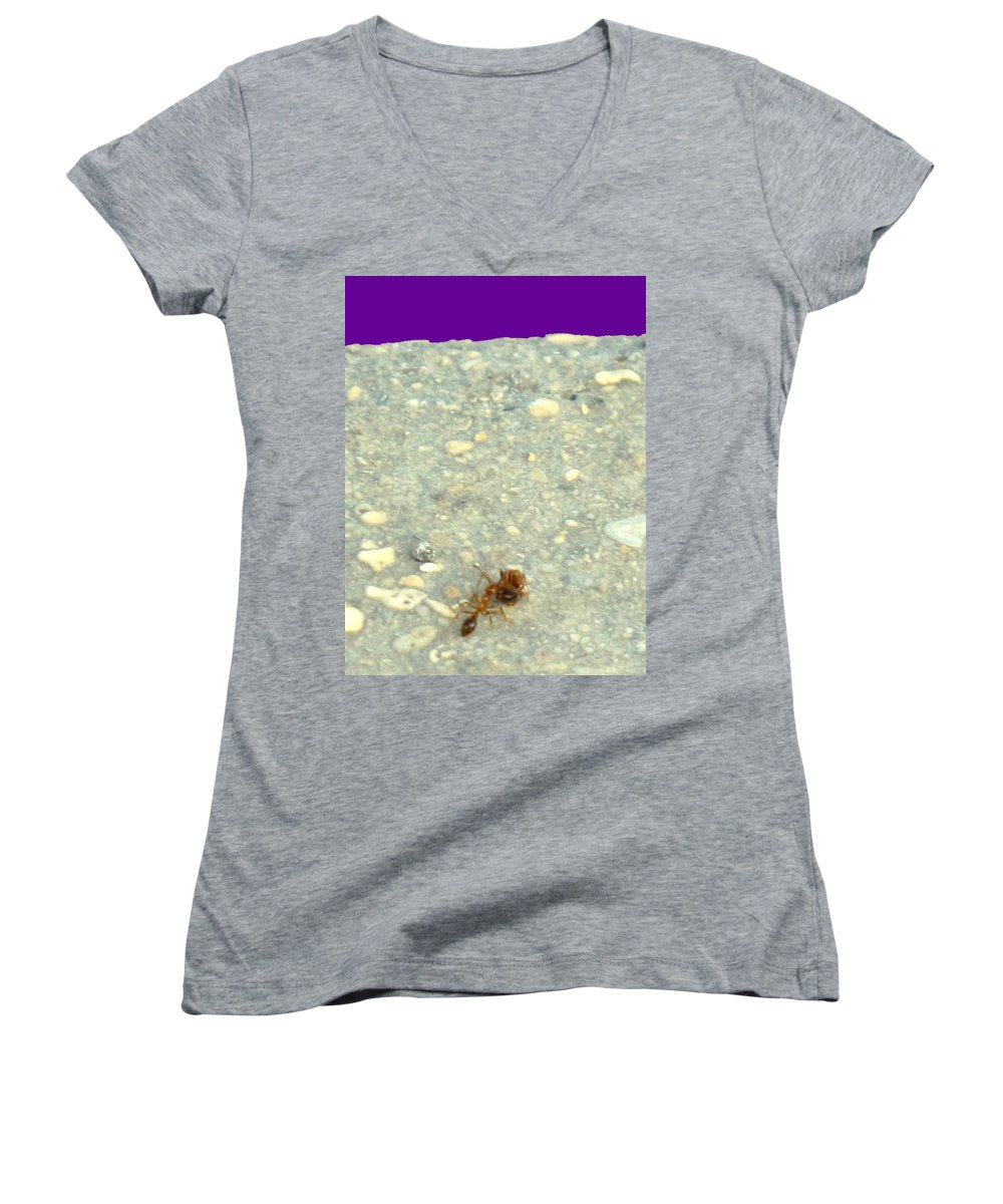 Ant Women's V-Neck T-Shirt featuring the photograph To The Edge by Ian MacDonald