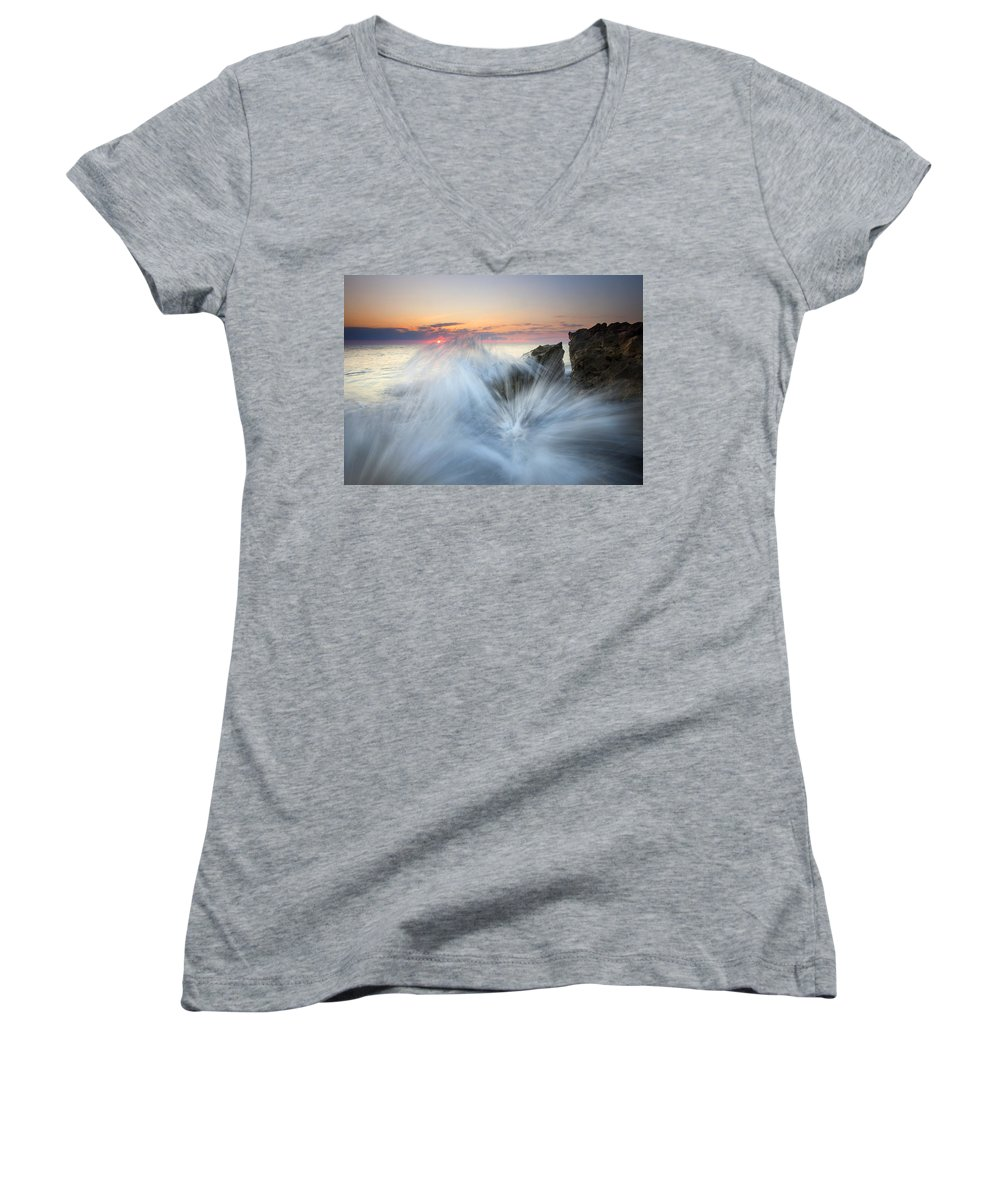 Sunrise Women's V-Neck (Athletic Fit) featuring the photograph Too Close For Comfort by Mike Dawson