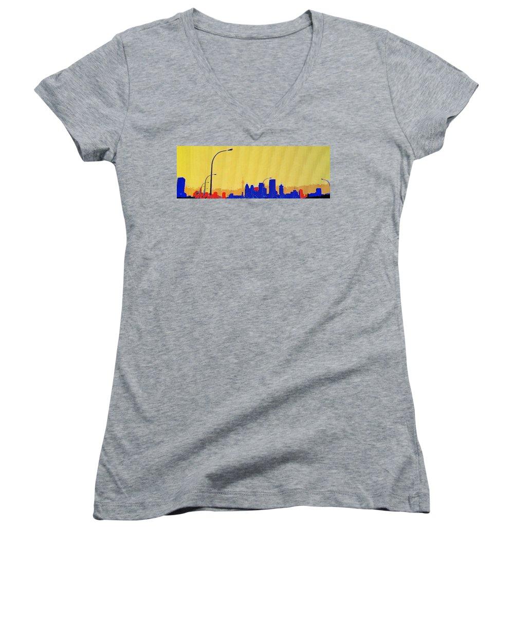 Toronto Women's V-Neck (Athletic Fit) featuring the photograph Toronto Lemon Skyline by Ian MacDonald