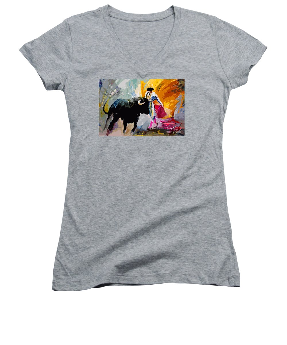 Toros Women's V-Neck (Athletic Fit) featuring the mixed media Toroscape 03 by Miki De Goodaboom