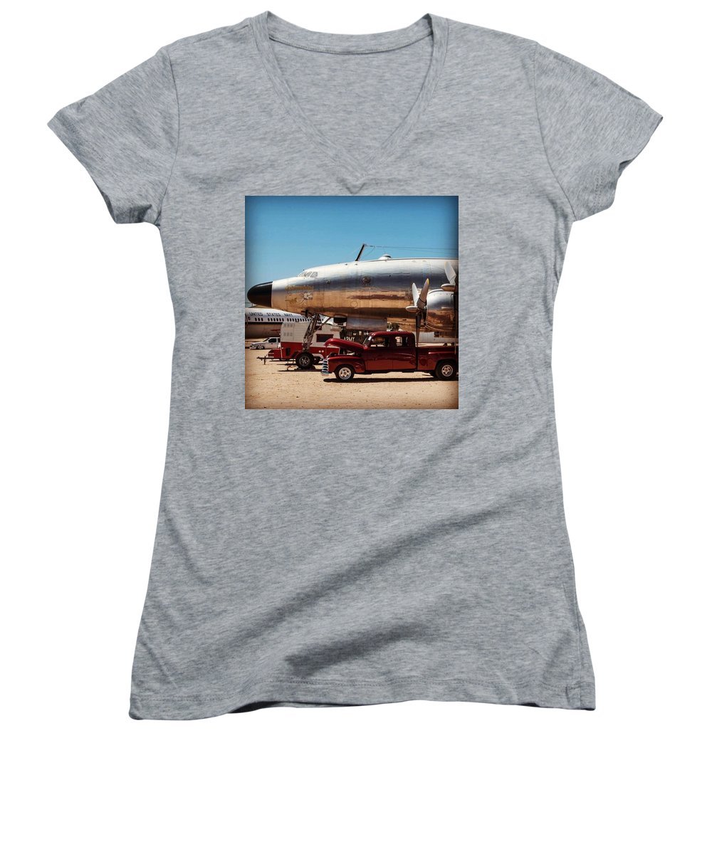 Arizona Women's V-Neck featuring the photograph Torque Fest Pima Air And Space Museum by Michael Moriarty