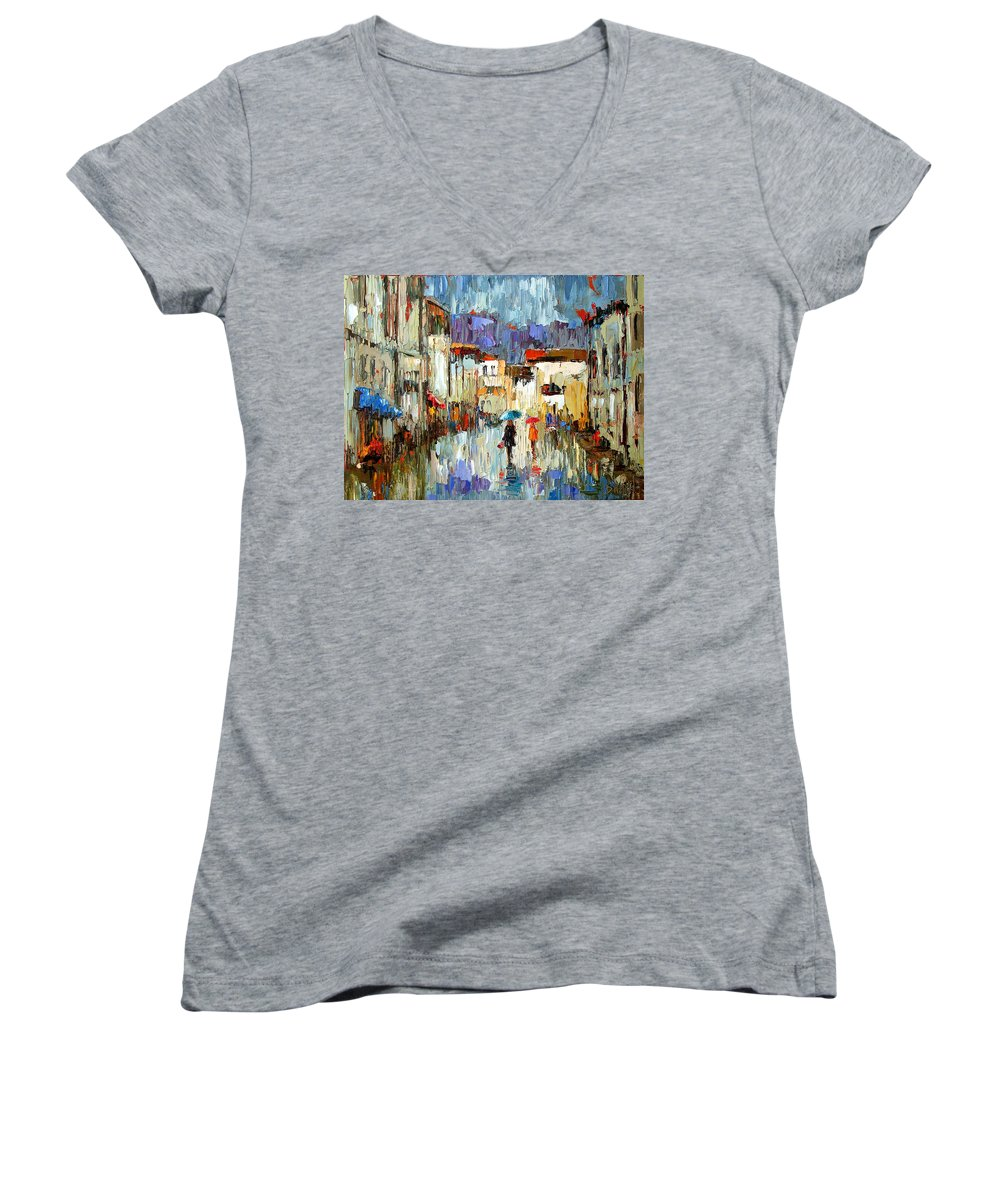 Landscape Women's V-Neck (Athletic Fit) featuring the painting Tourists by Debra Hurd