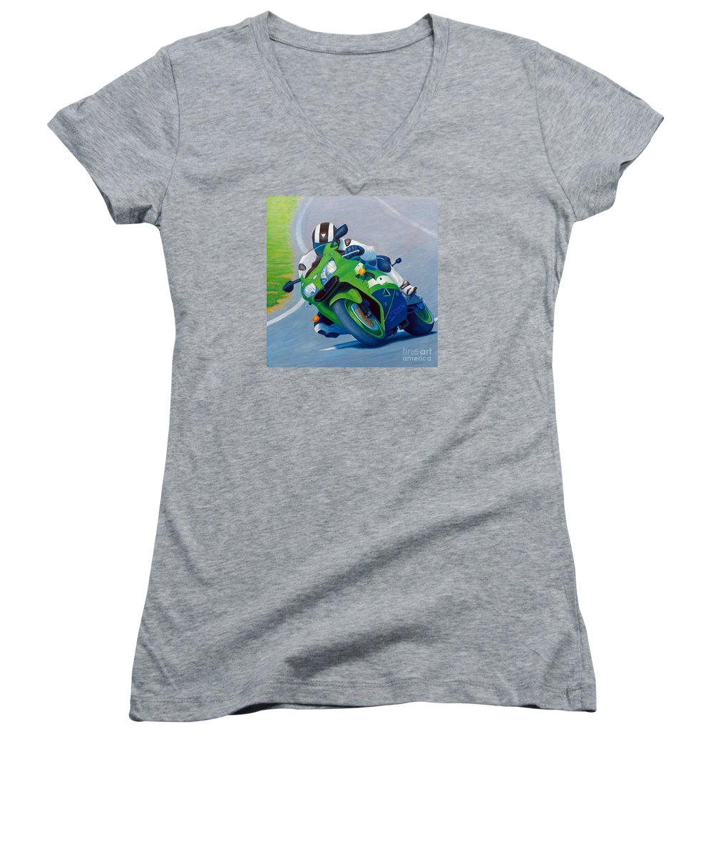 Motorcycle Women's V-Neck T-Shirt featuring the painting Track Day - Kawasaki Zx9 by Brian Commerford