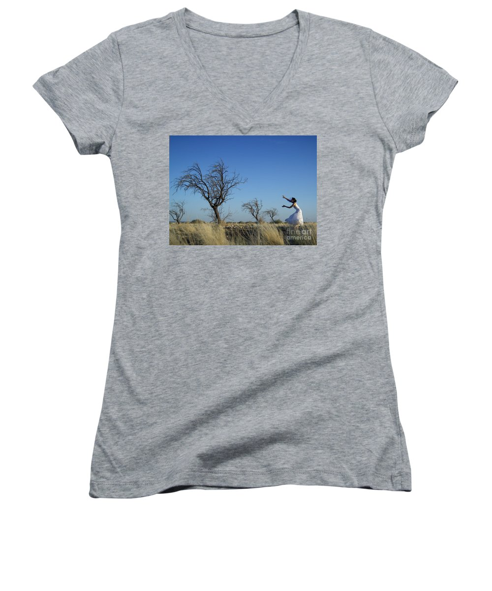 Landscape Women's V-Neck (Athletic Fit) featuring the photograph Tree Echo by Scott Sawyer