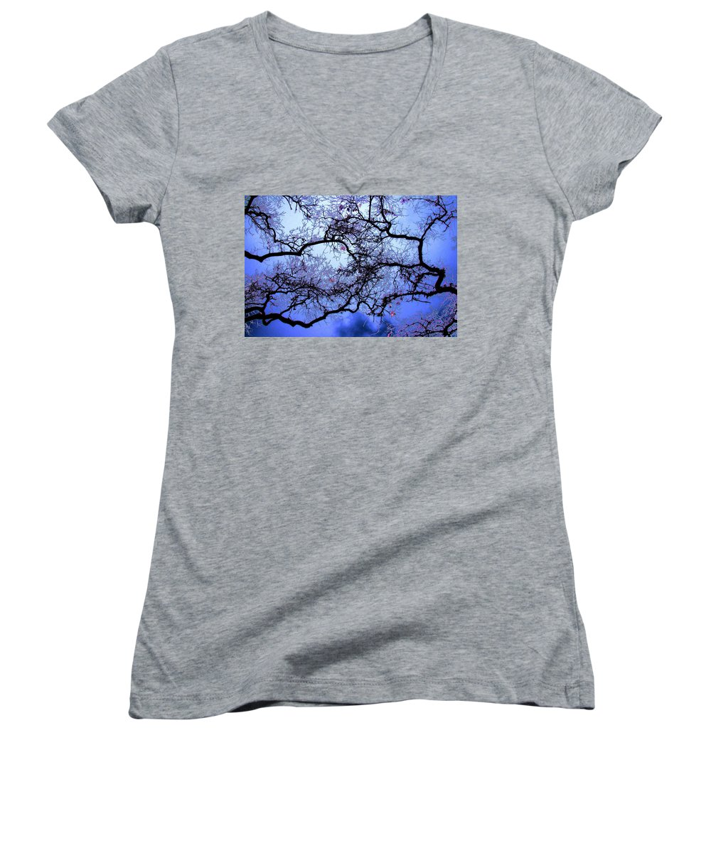 Scenic Women's V-Neck T-Shirt featuring the photograph Tree Fantasy In Blue by Lee Santa