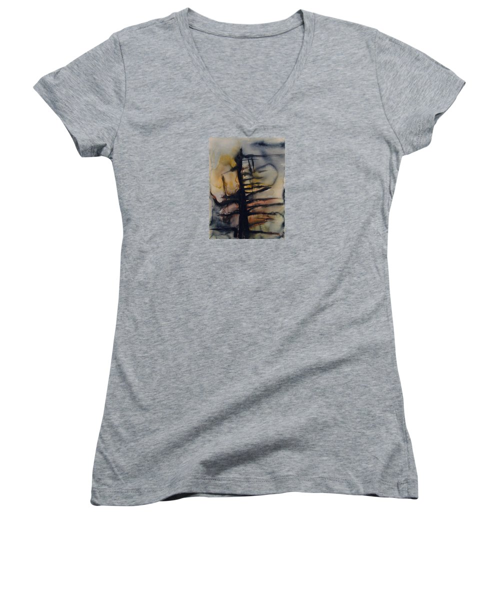 Tree Abstracted Original Watercolor Silhouette Open Branches Limbs Trees Women's V-Neck T-Shirt featuring the painting Tree Series Vi by Leila Atkinson