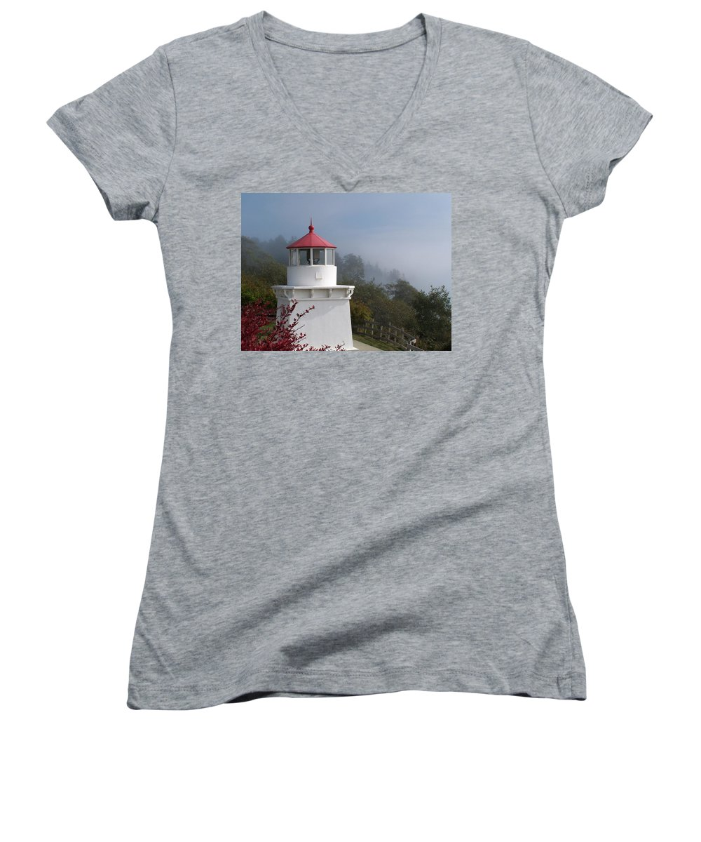 Lighthouse Women's V-Neck T-Shirt featuring the photograph Trinidad Head Lighthouse by Gale Cochran-Smith
