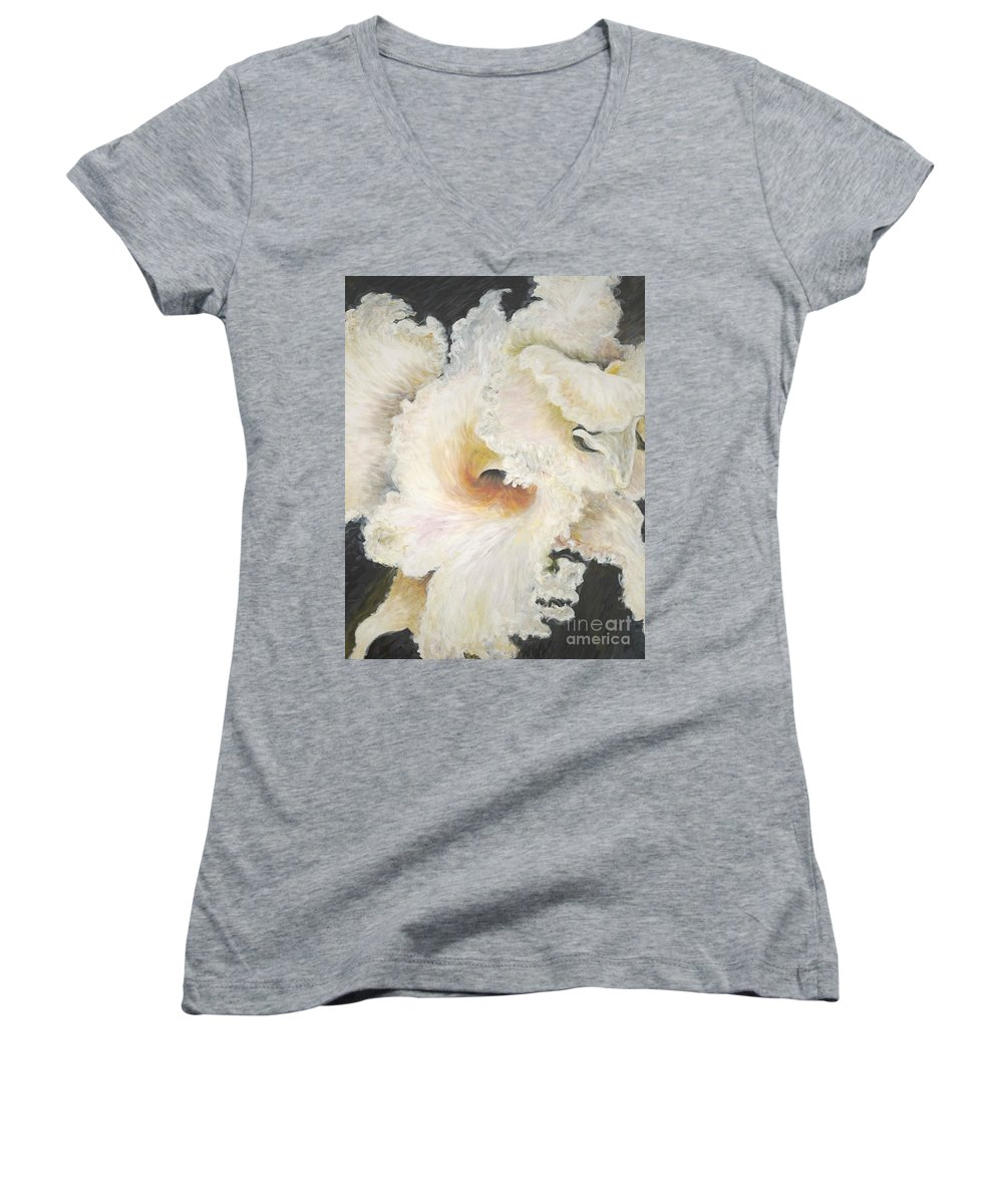 Flower Women's V-Neck T-Shirt featuring the painting Tropical Flowers by Nadine Rippelmeyer