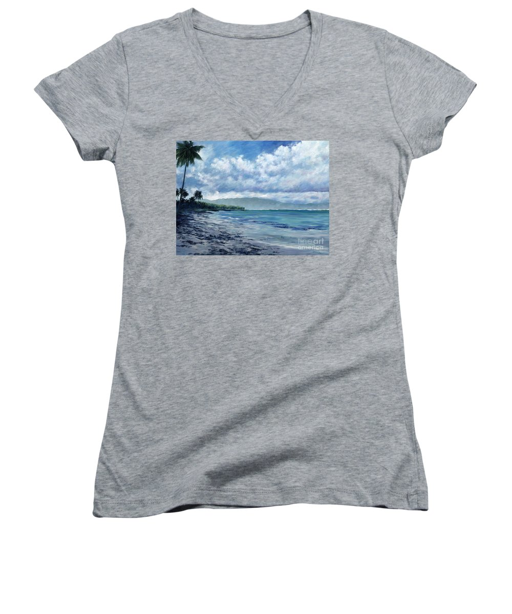 Seascape Women's V-Neck T-Shirt featuring the painting Tropical Rain by Danielle Perry