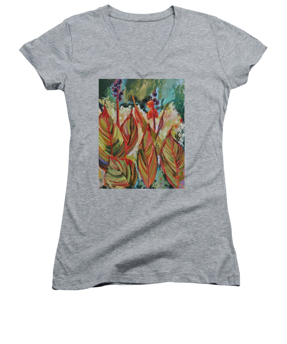 Tropicana Women's V-Neck T-Shirt featuring the painting Tropicana by Ginger Concepcion