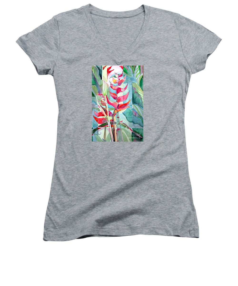 Landscape Women's V-Neck T-Shirt featuring the painting Tropicana Red by Mindy Newman
