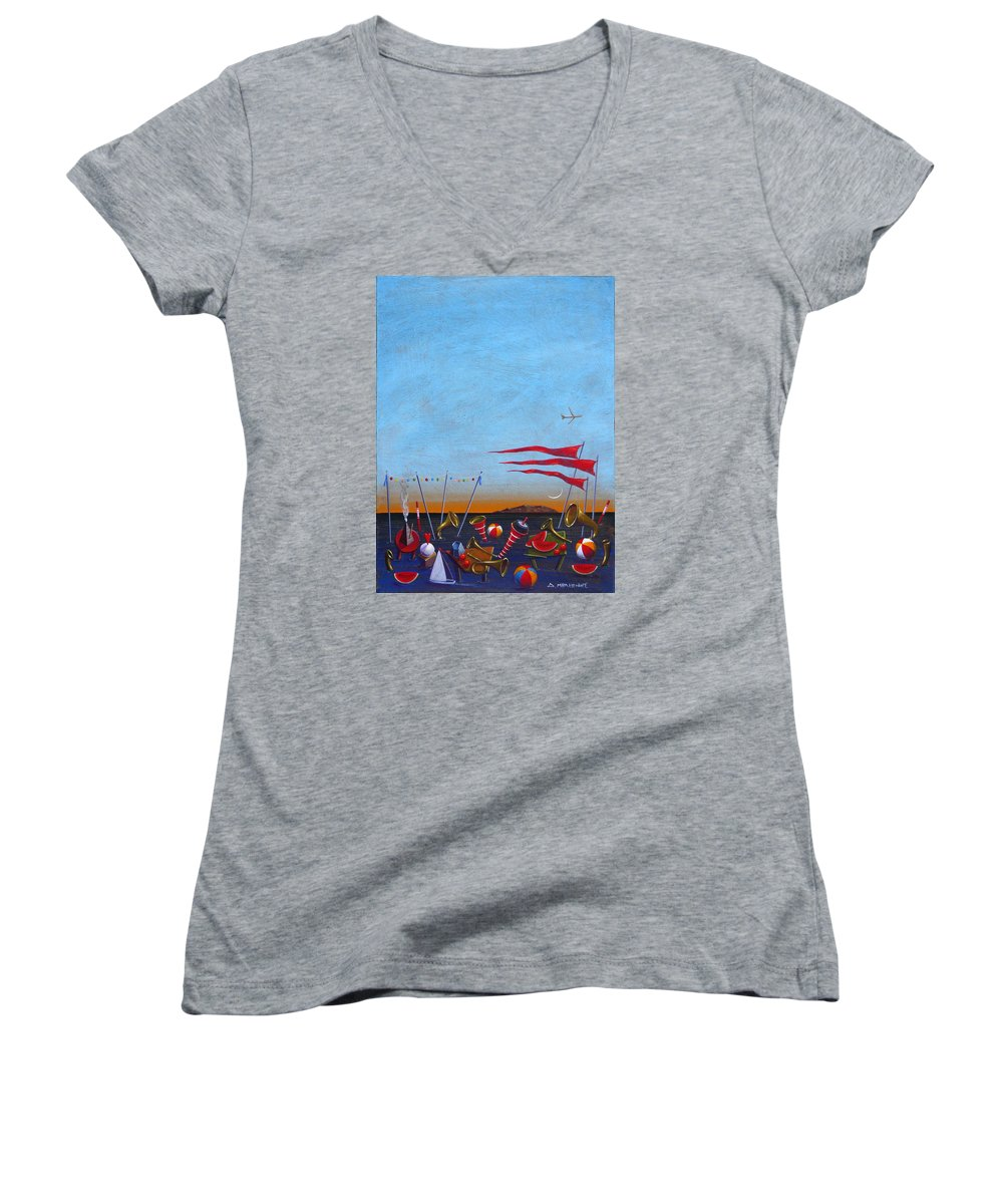 Piano Women's V-Neck T-Shirt featuring the painting Trumpets Of The Mediterranean by Dimitris Milionis