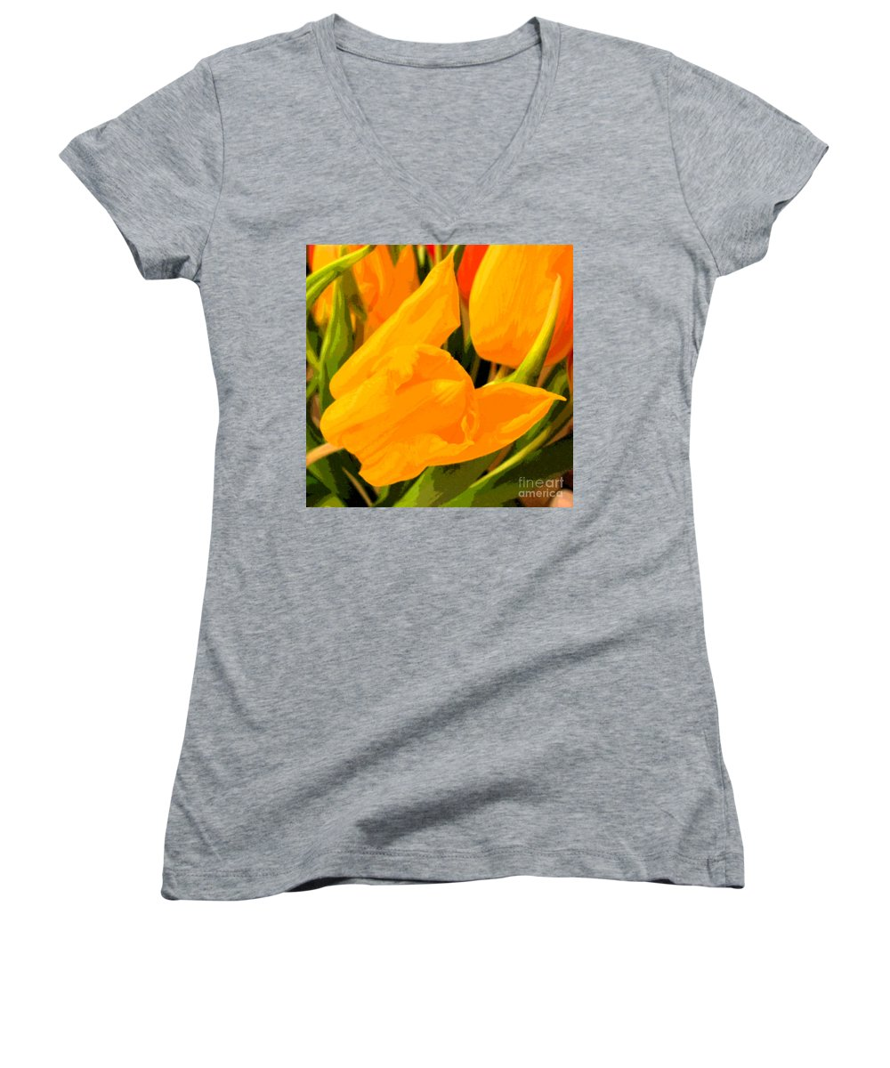 Tulip Women's V-Neck T-Shirt featuring the photograph Tulips by Amanda Barcon