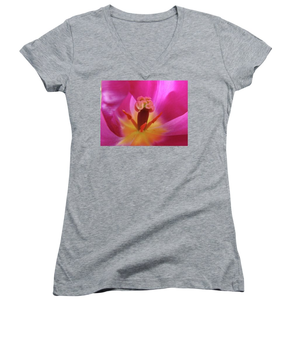 �tulips Artwork� Women's V-Neck (Athletic Fit) featuring the photograph Tulips Artwork Pink Purple Tuli Flower Art Prints Spring Garden Nature by Baslee Troutman