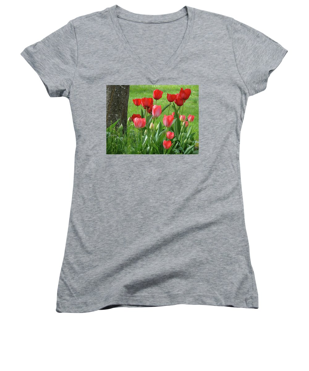 �tulips Artwork� Women's V-Neck (Athletic Fit) featuring the photograph Tulips Flowers Art Prints Spring Tulip Flower Artwork Nature Art by Baslee Troutman