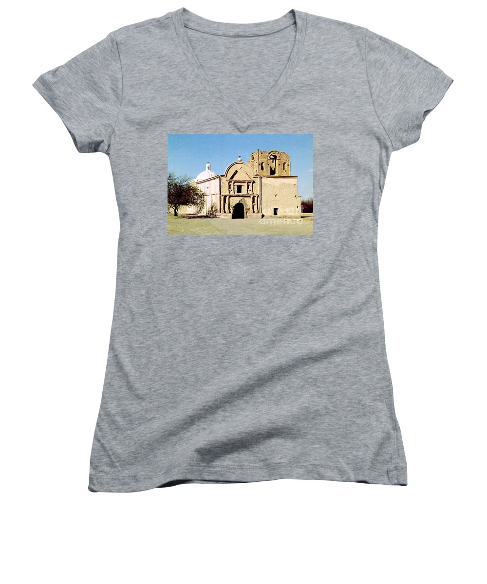 Mission Women's V-Neck T-Shirt featuring the photograph Tumacacori by Kathy McClure