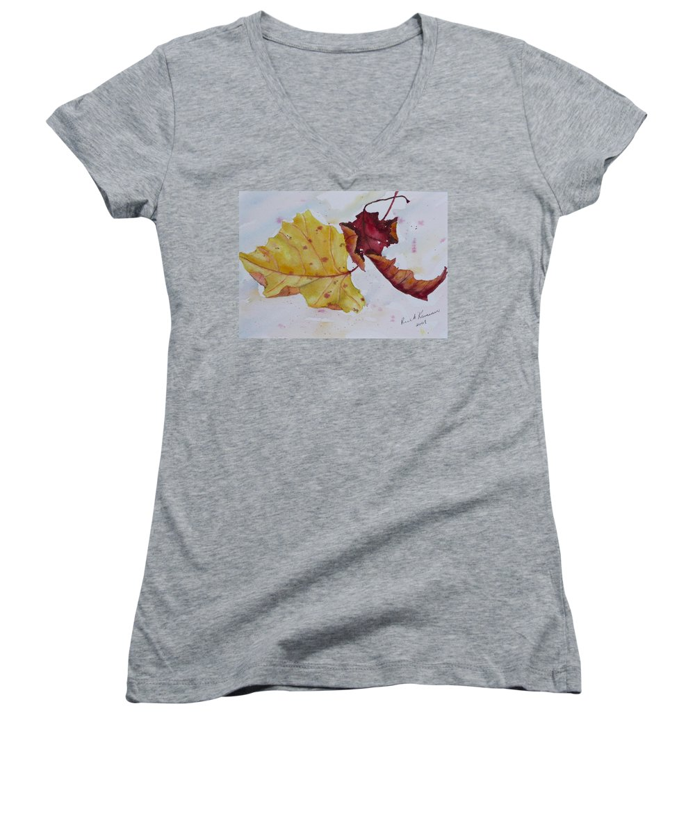 Fall Women's V-Neck T-Shirt featuring the painting Tumbling by Ruth Kamenev