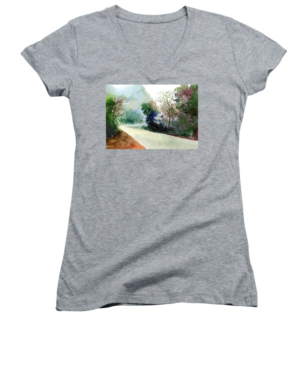 Landscape Water Color Nature Greenery Light Pathway Women's V-Neck (Athletic Fit) featuring the painting Turn Right by Anil Nene
