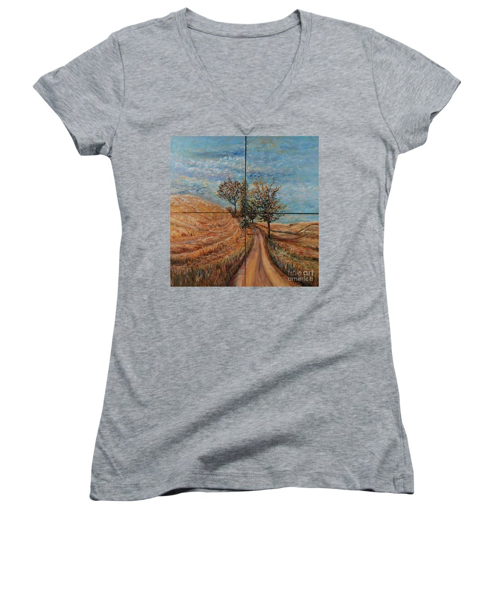 Landscape Women's V-Neck T-Shirt featuring the painting Tuscan Journey by Nadine Rippelmeyer
