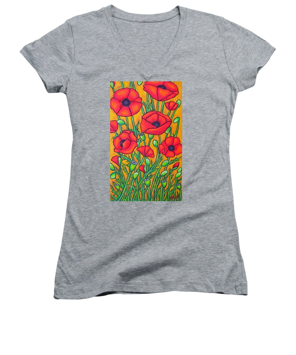 Poppies Women's V-Neck T-Shirt featuring the painting Tuscan Poppies - Crop 2 by Lisa Lorenz