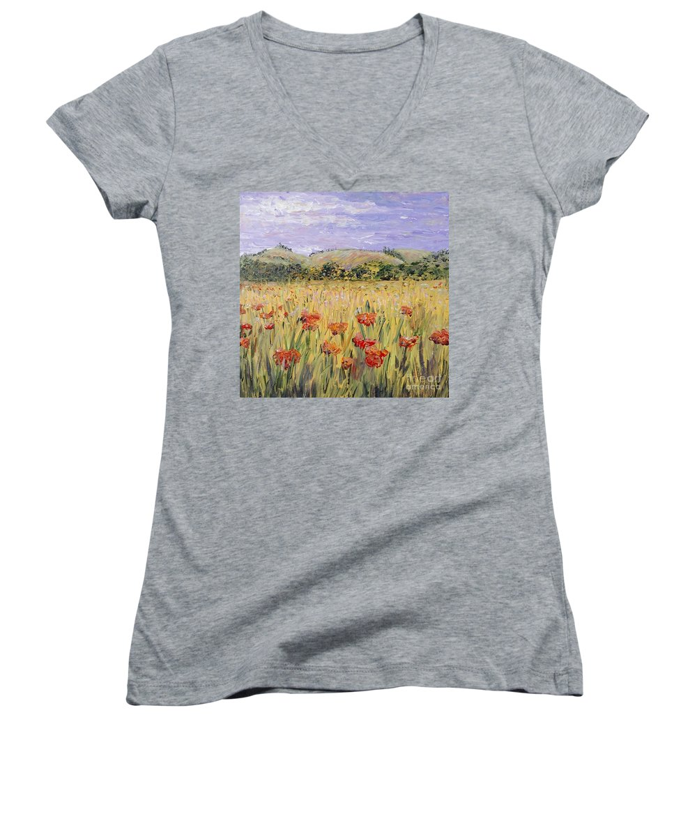 Poppies Women's V-Neck T-Shirt featuring the painting Tuscany Poppies by Nadine Rippelmeyer