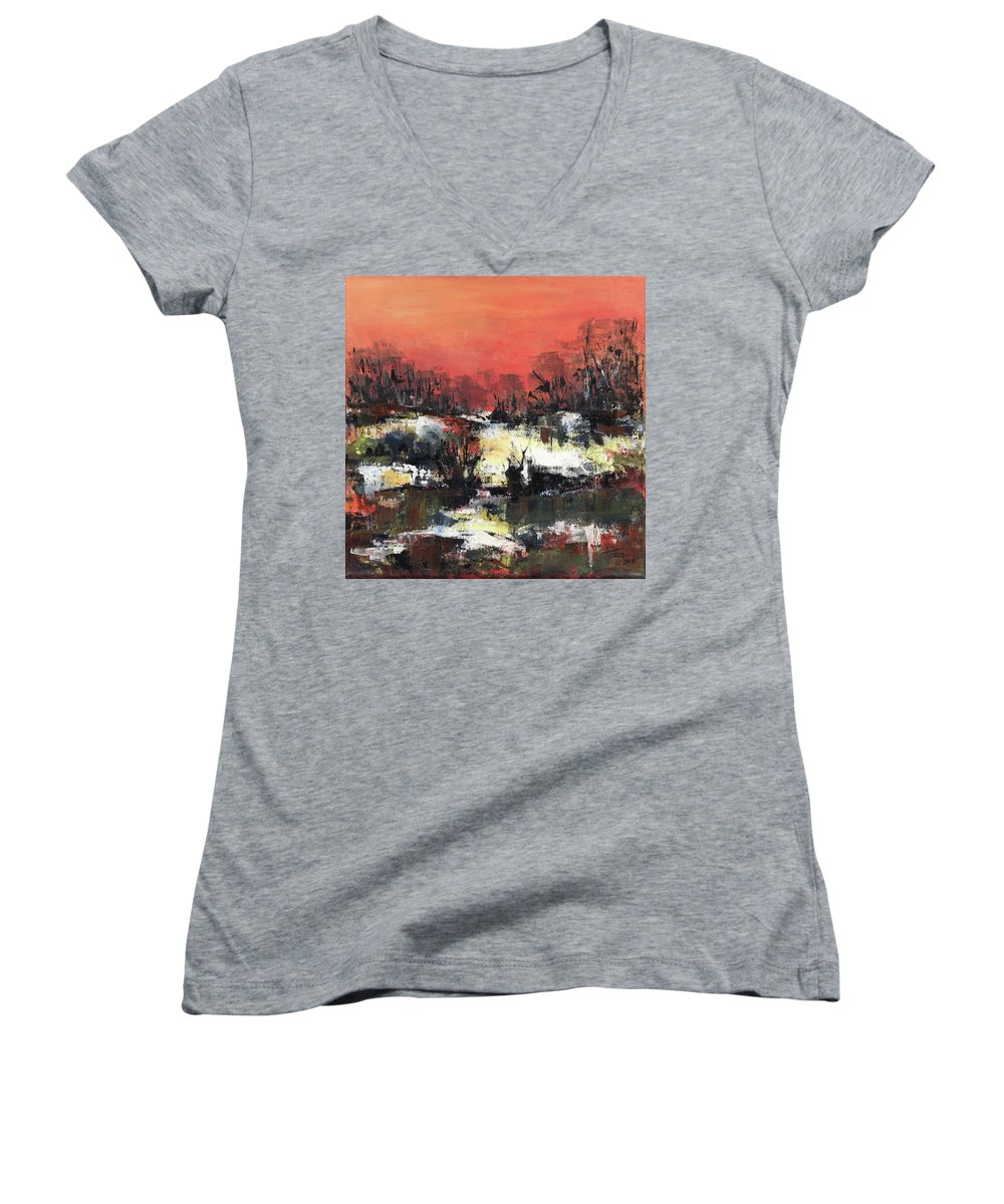 Abstract Women's V-Neck T-Shirt featuring the painting Twilight Madness by Aniko Hencz