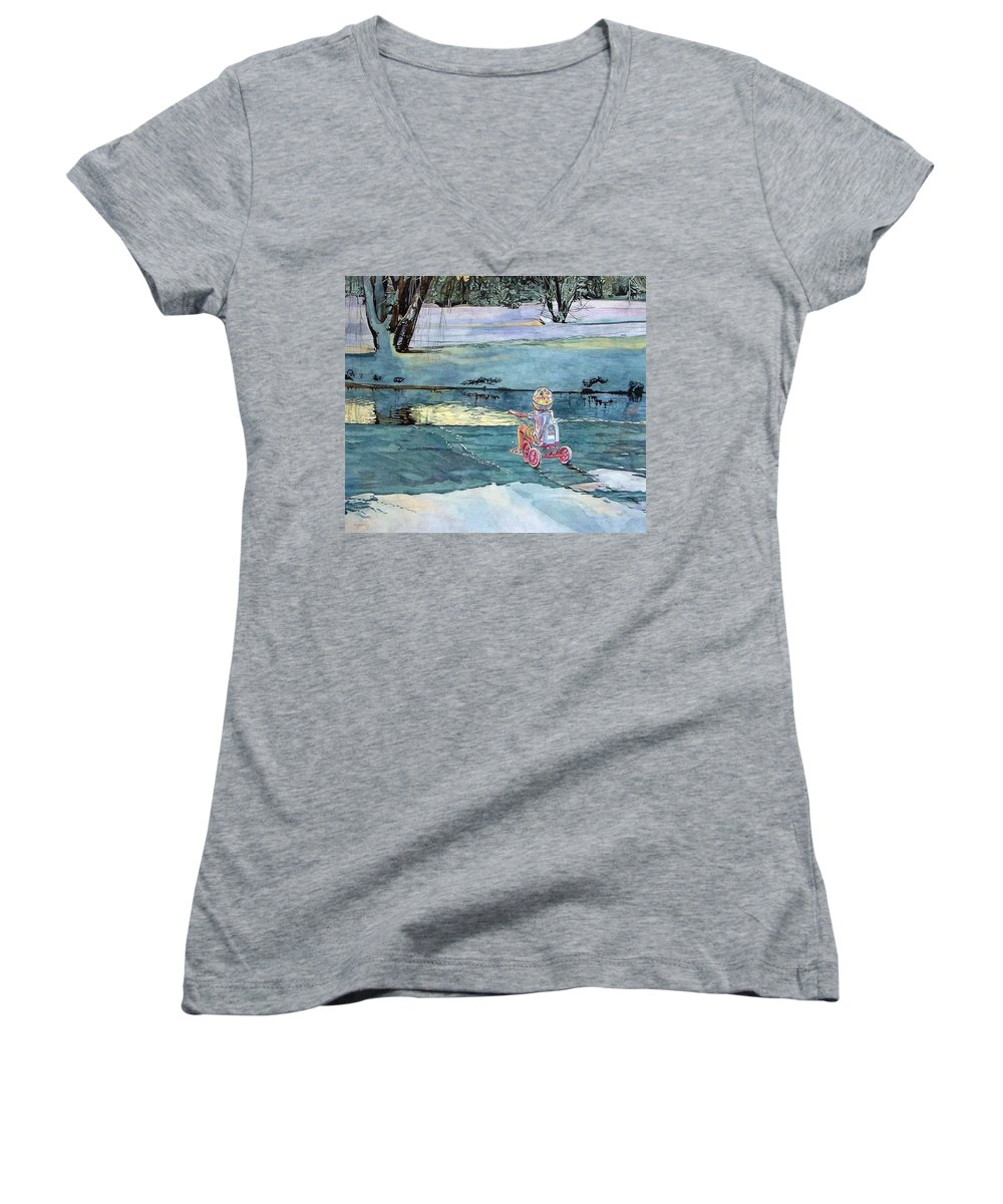 Children Women's V-Neck (Athletic Fit) featuring the painting Twilight by Valerie Patterson