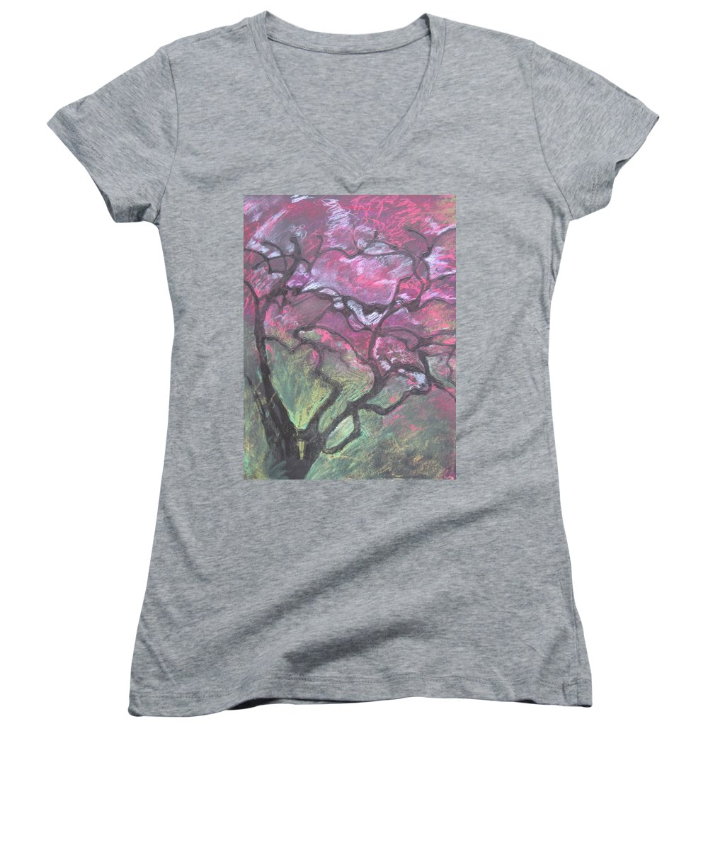 Pastel Women's V-Neck T-Shirt featuring the drawing Twisted Cherry by Leah Tomaino