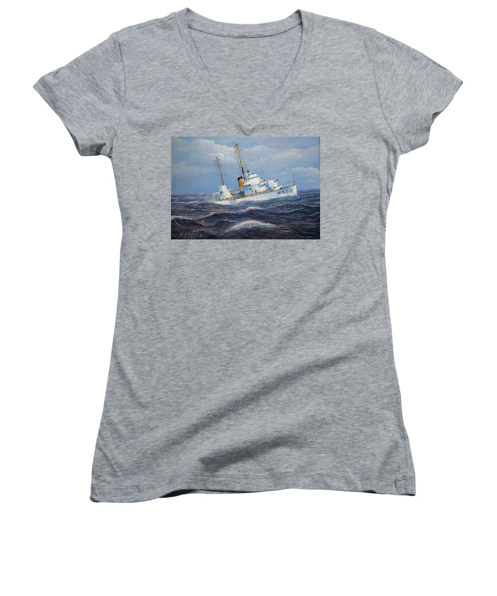 Marine Art Women's V-Neck T-Shirt featuring the painting U. S. Coast Guard Cutter Sebago Takes A Roll by William H RaVell III