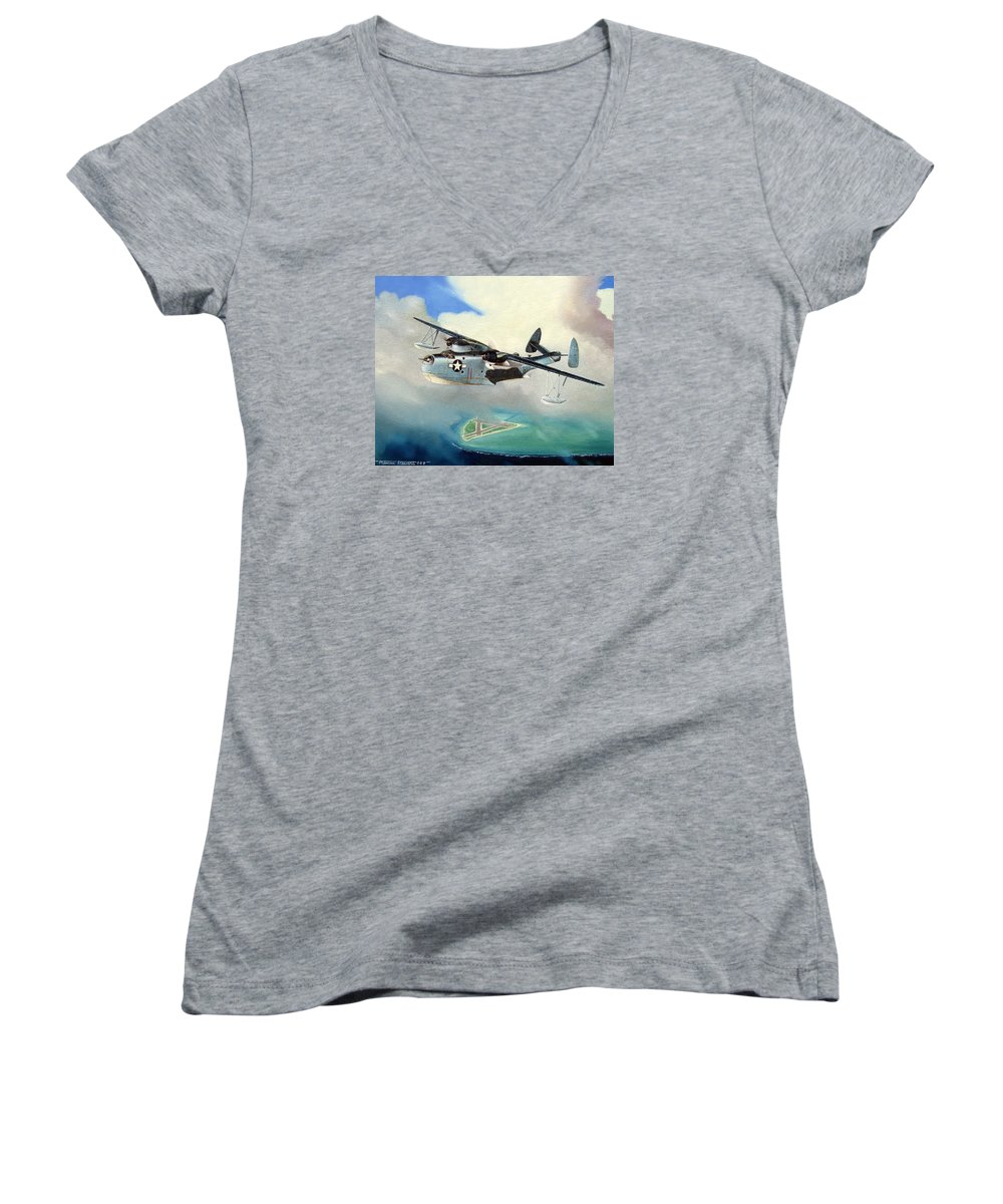Military Women's V-Neck (Athletic Fit) featuring the painting Uncle Bubba's Flying Boat by Marc Stewart