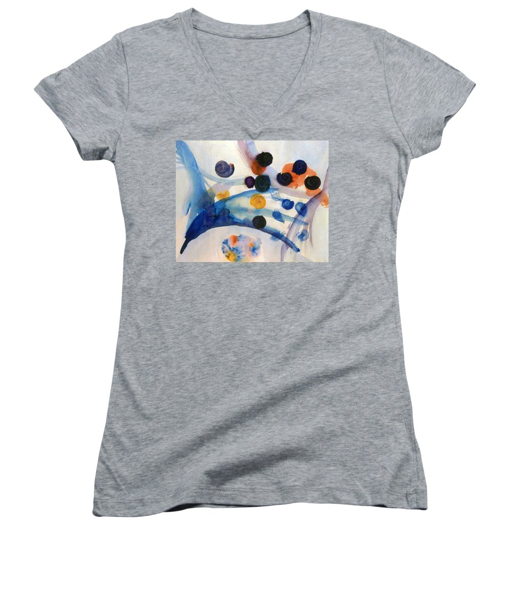 Abstract Women's V-Neck T-Shirt featuring the painting Under The Sea by Steve Karol
