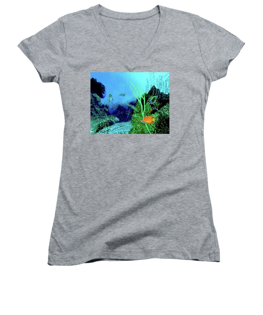 Wildlife Women's V-Neck T-Shirt featuring the painting Underwater by Stan Hamilton