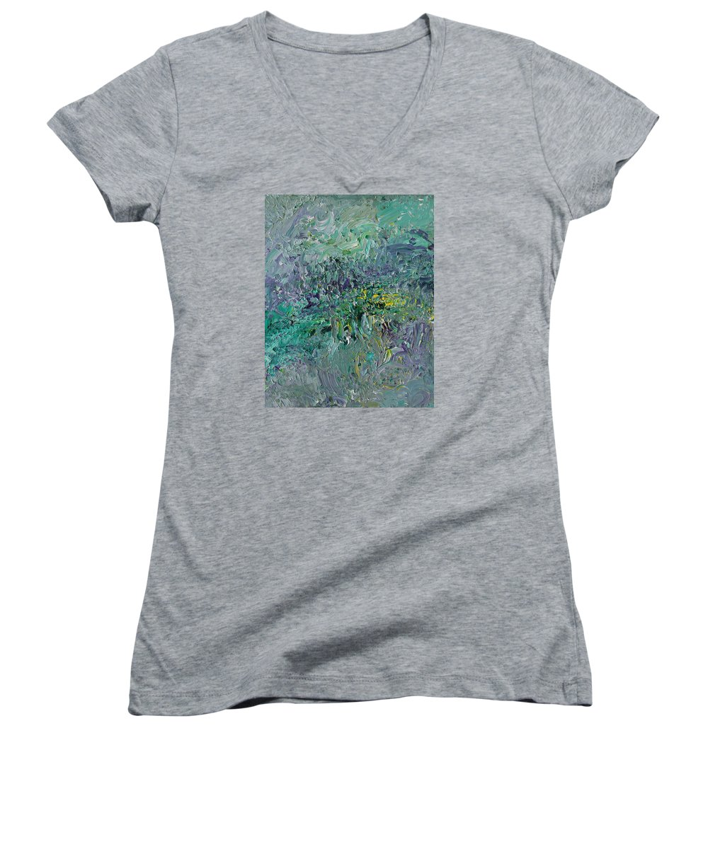 Fusionart Women's V-Neck (Athletic Fit) featuring the painting Blind Giverny by Ralph White