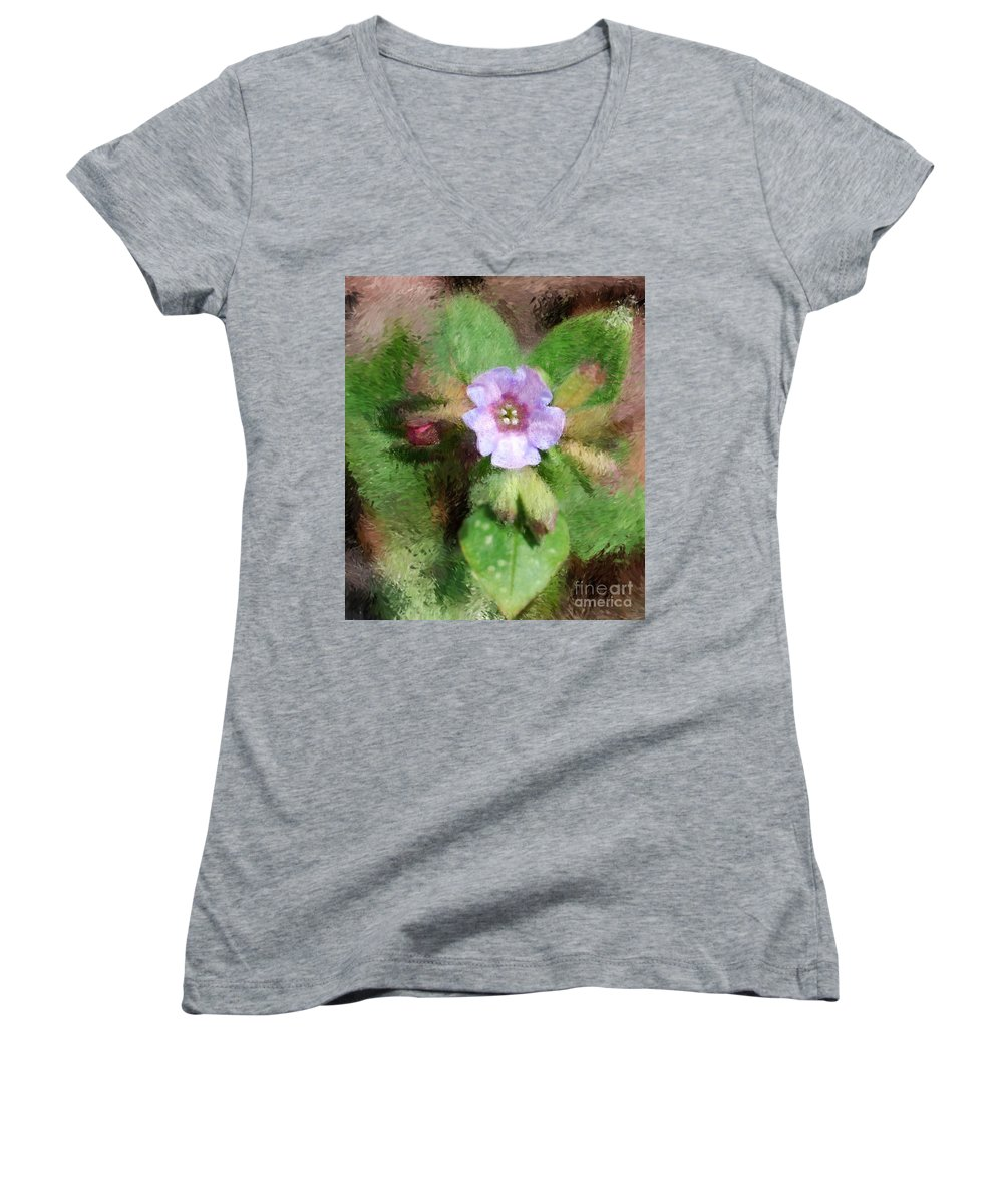 Digital Photo Women's V-Neck T-Shirt featuring the photograph Untitled Floral -1 by David Lane