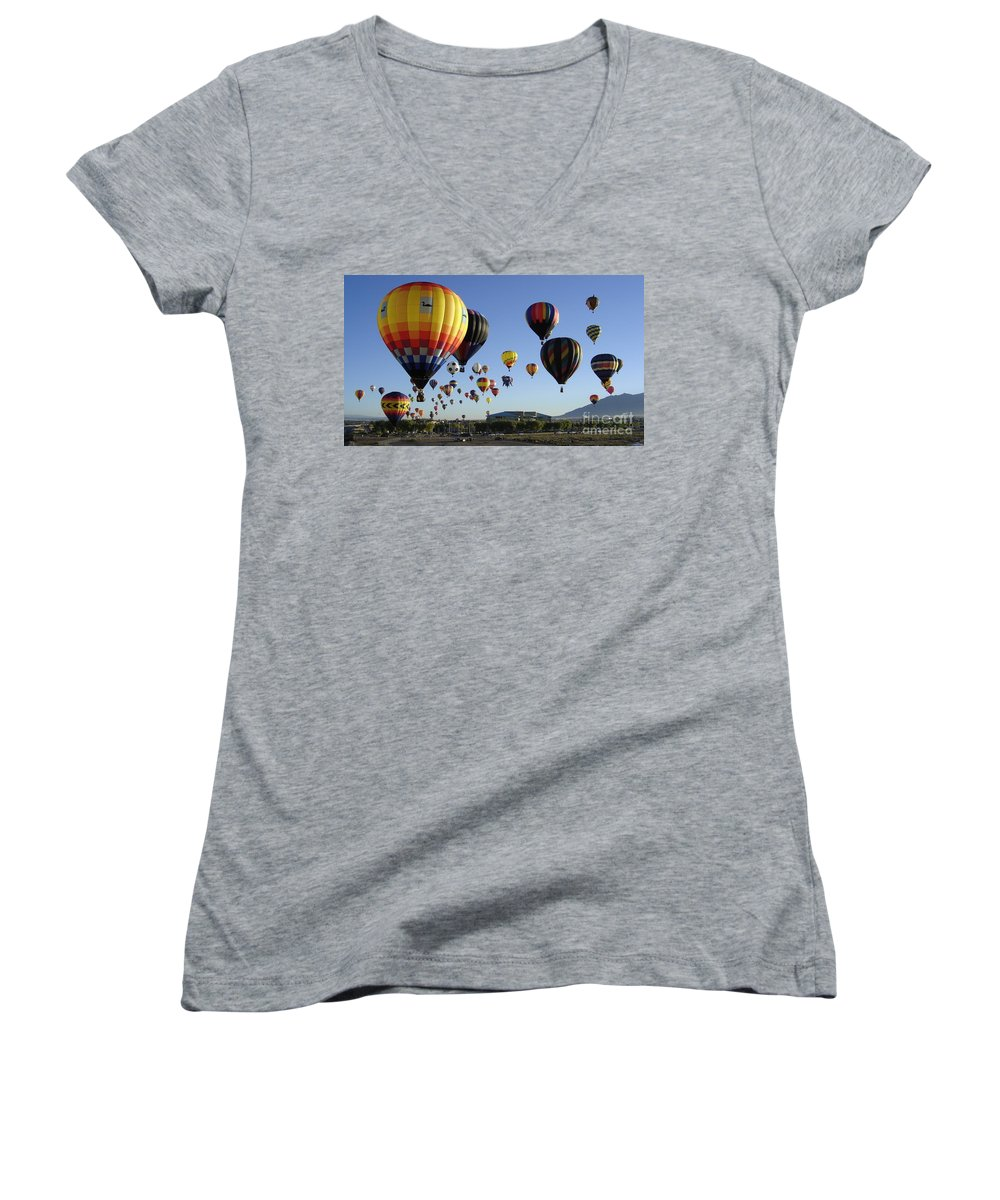 Balloons Women's V-Neck T-Shirt featuring the photograph Up And Away by Mary Rogers