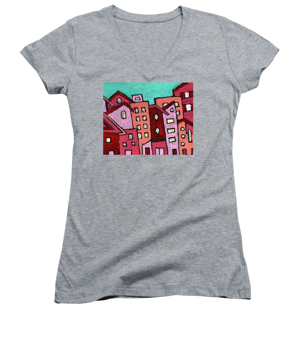 City Scene Women's V-Neck T-Shirt featuring the painting Urban Heat by Wayne Potrafka