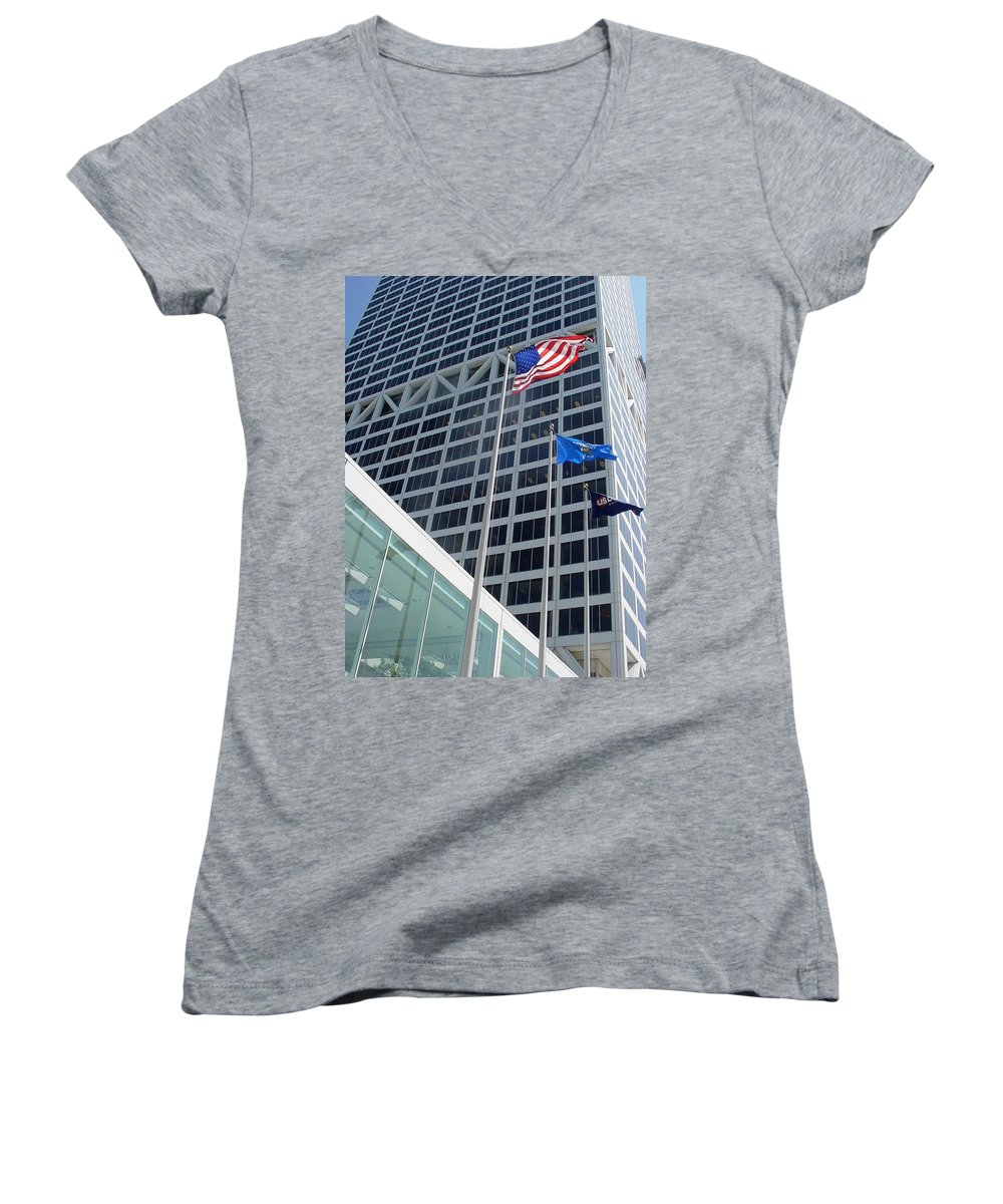 Us Bank Women's V-Neck T-Shirt featuring the photograph Us Bank With Flags by Anita Burgermeister