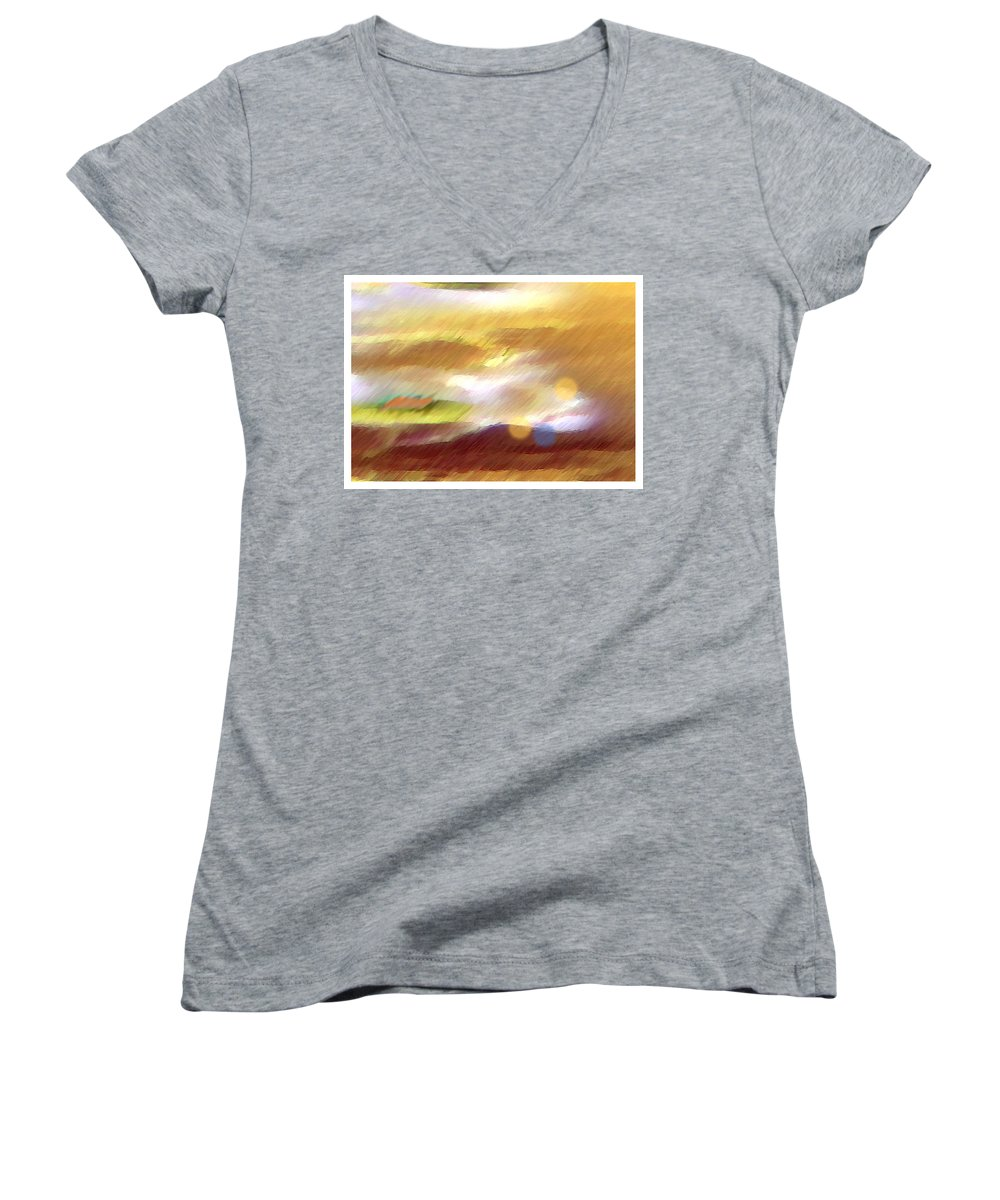 Landscape Women's V-Neck T-Shirt featuring the painting Valleylights by Anil Nene