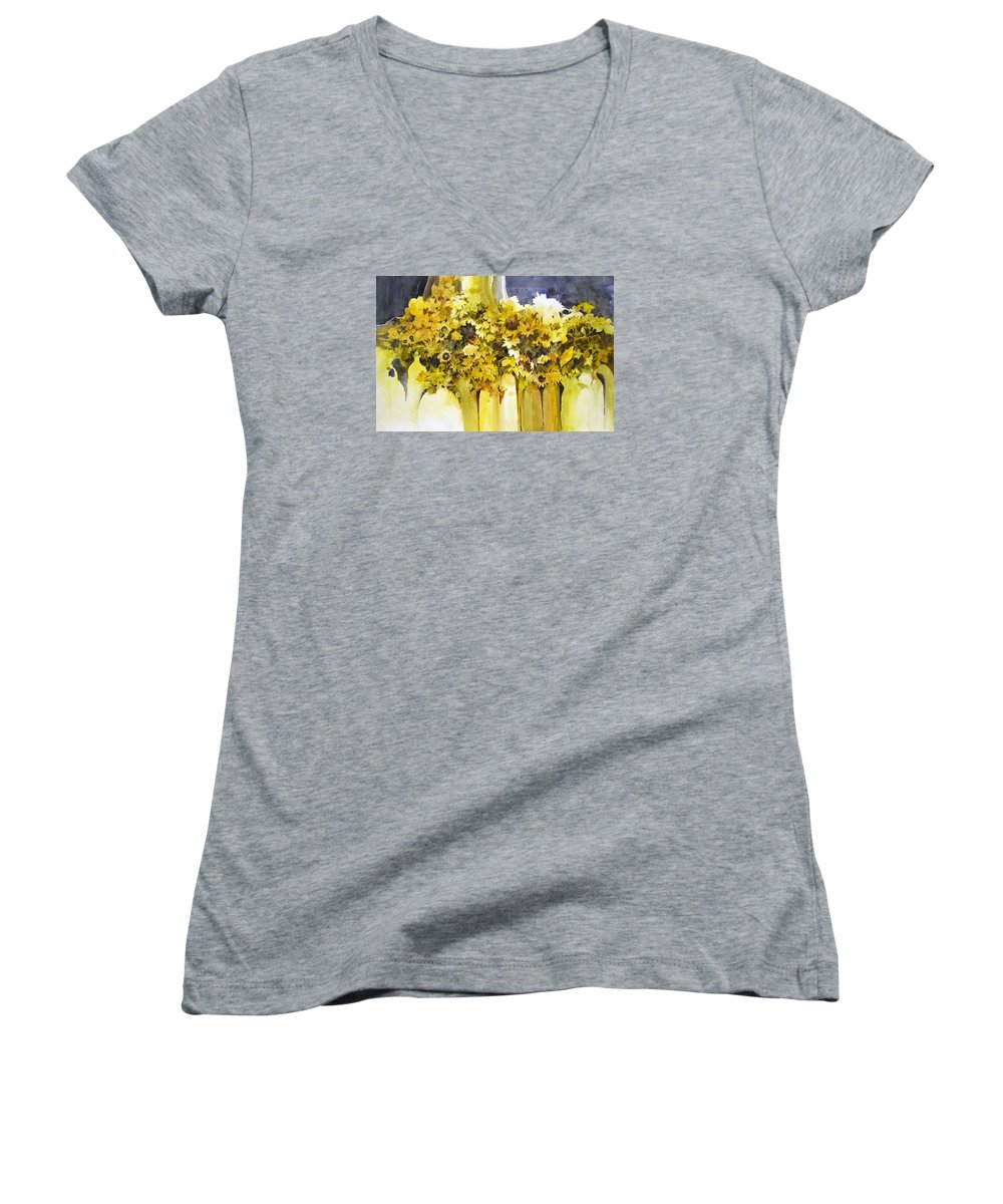 Yellow Flowers;sunflowers;vases;floral;contemporary Floral; Women's V-Neck T-Shirt featuring the painting Vases Full Of Blooms  by Lois Mountz