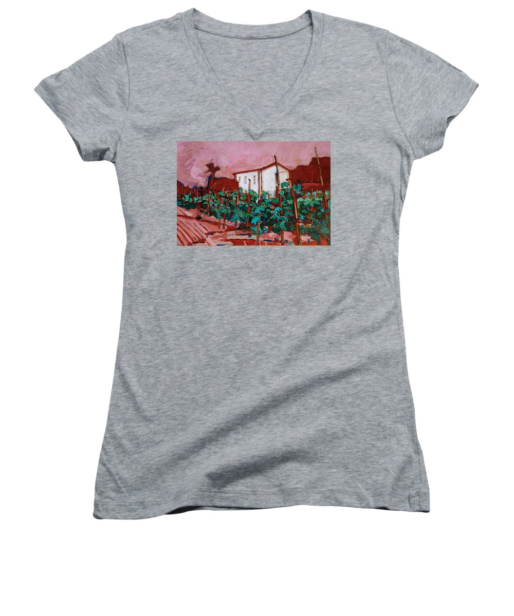 Tuscany Women's V-Neck T-Shirt featuring the painting Vecchio Casa Di Pietro by Kurt Hausmann