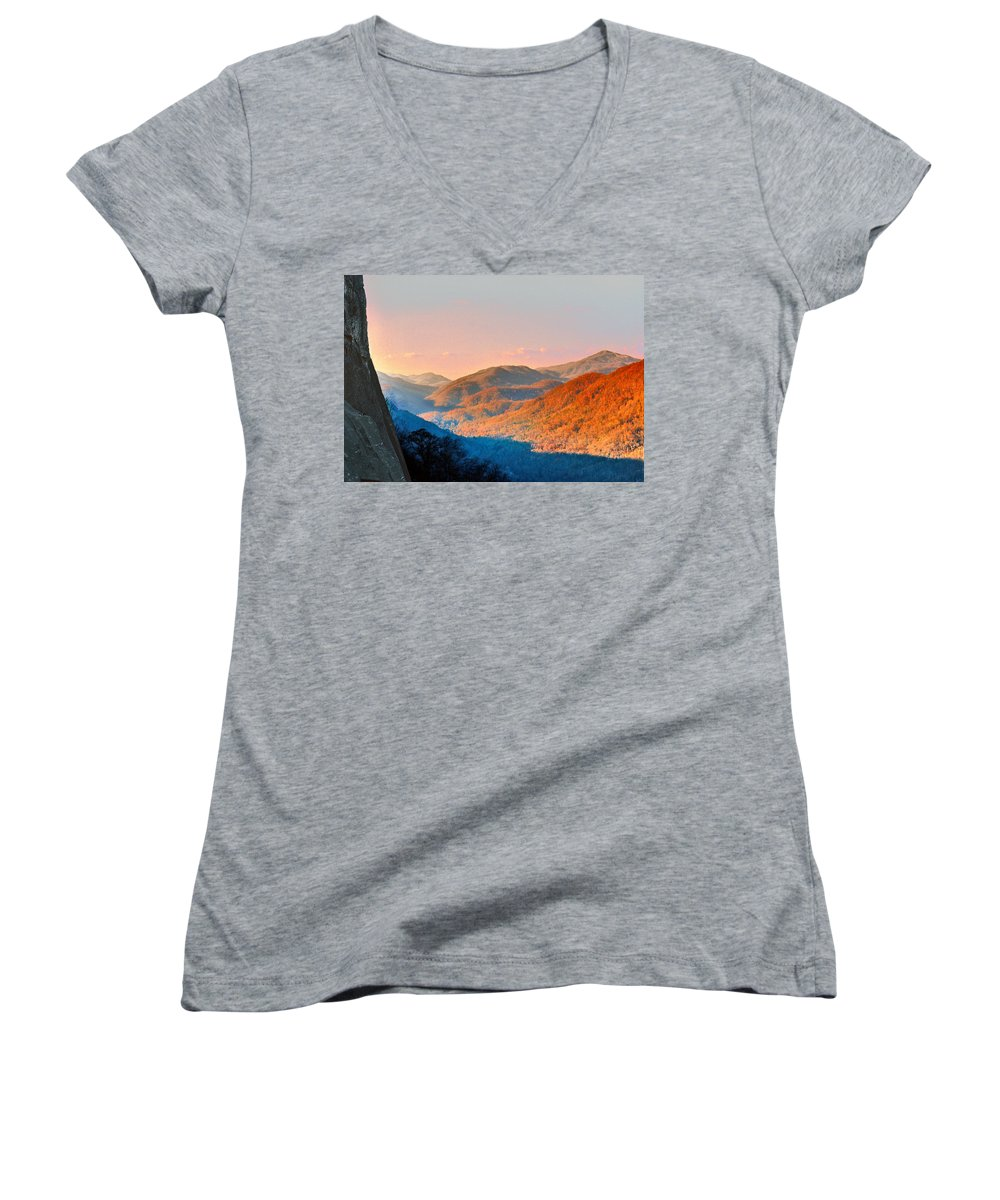 Landscape Women's V-Neck T-Shirt featuring the photograph View From Chimney Rock-north Carolina by Steve Karol
