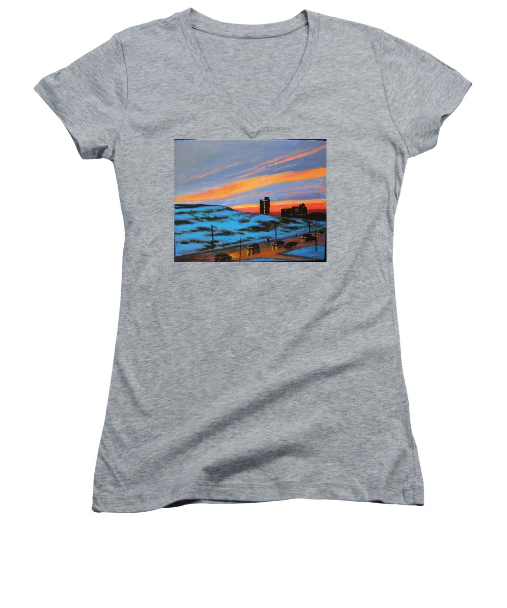 City At Night Women's V-Neck (Athletic Fit) featuring the painting View From My Balcony by John Malone