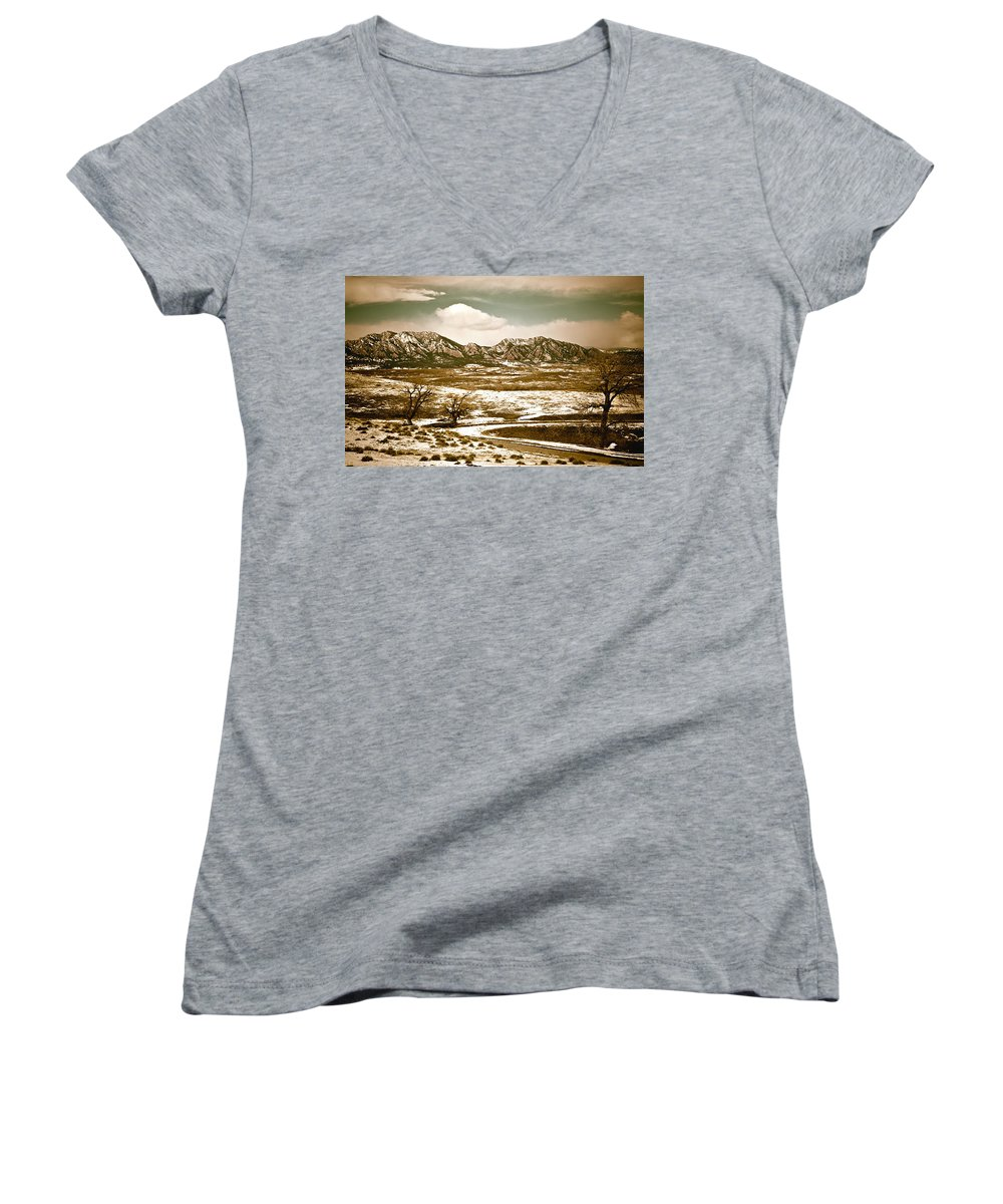 Landscape Women's V-Neck (Athletic Fit) featuring the photograph Flatironsview From Superior by Marilyn Hunt