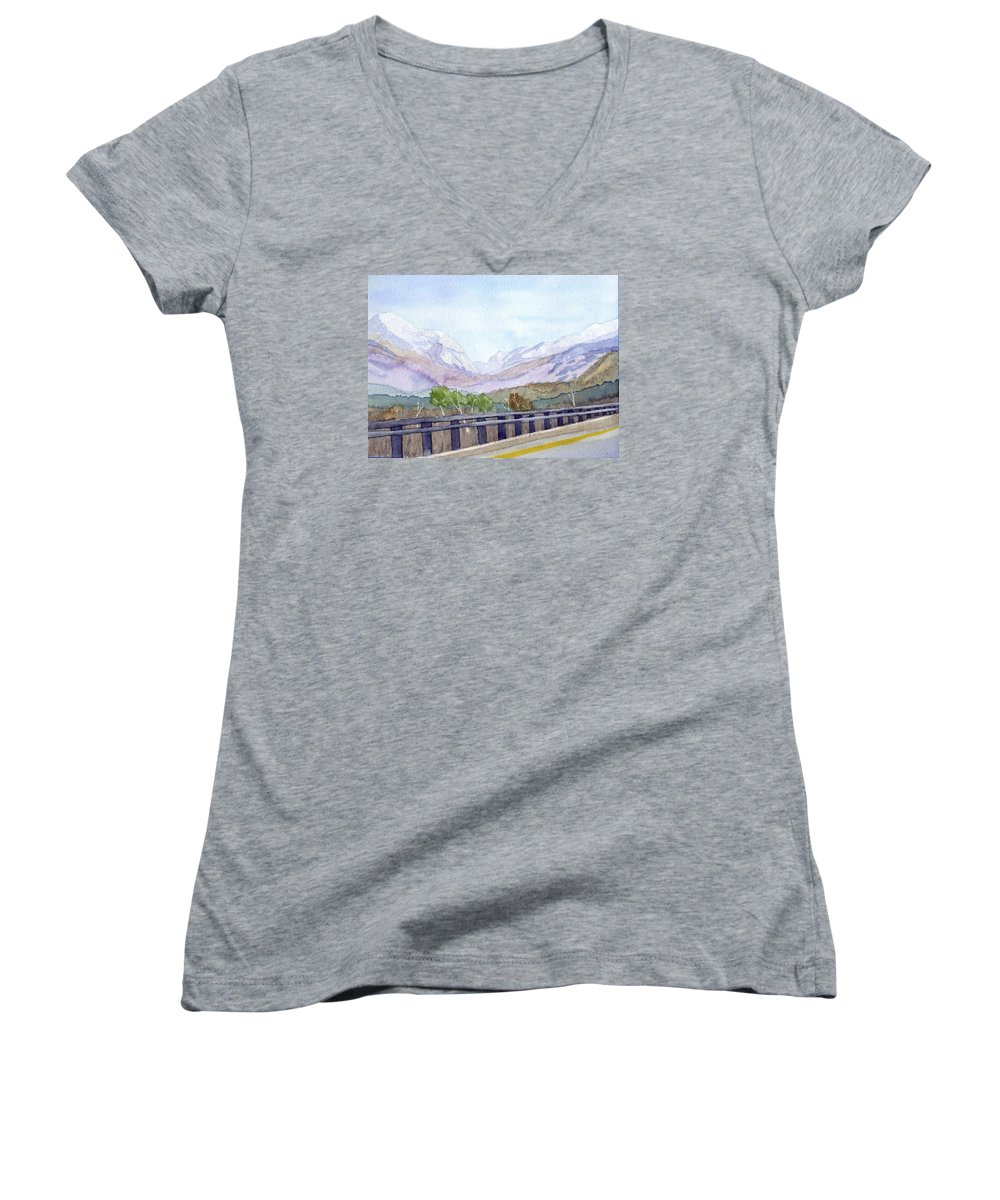 Franconia Notch Women's V-Neck (Athletic Fit) featuring the painting View Of Franconia Notch by Sharon E Allen