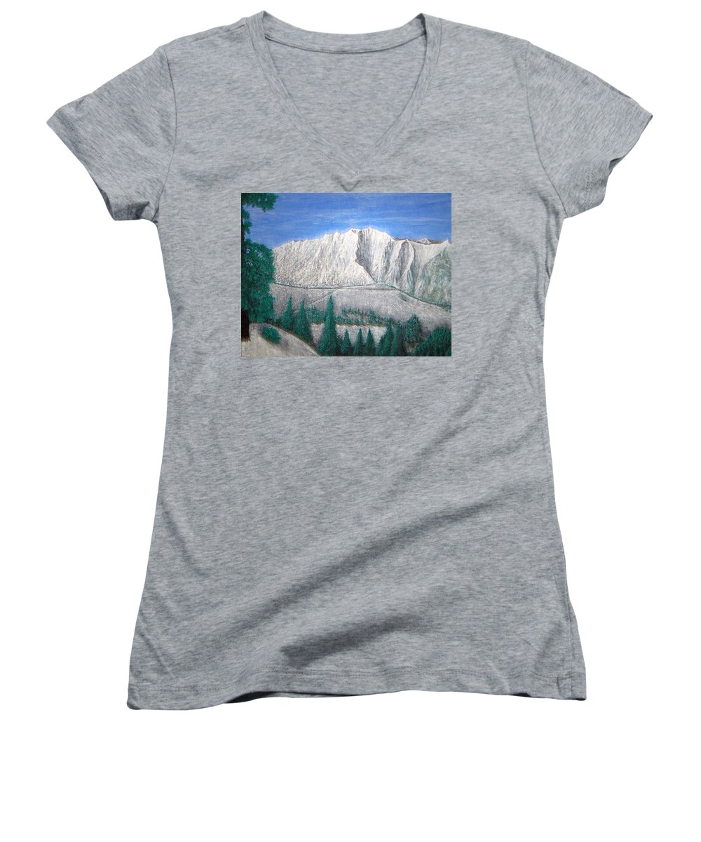Snow Women's V-Neck T-Shirt featuring the painting Viewfrom Spruces by Michael Cuozzo