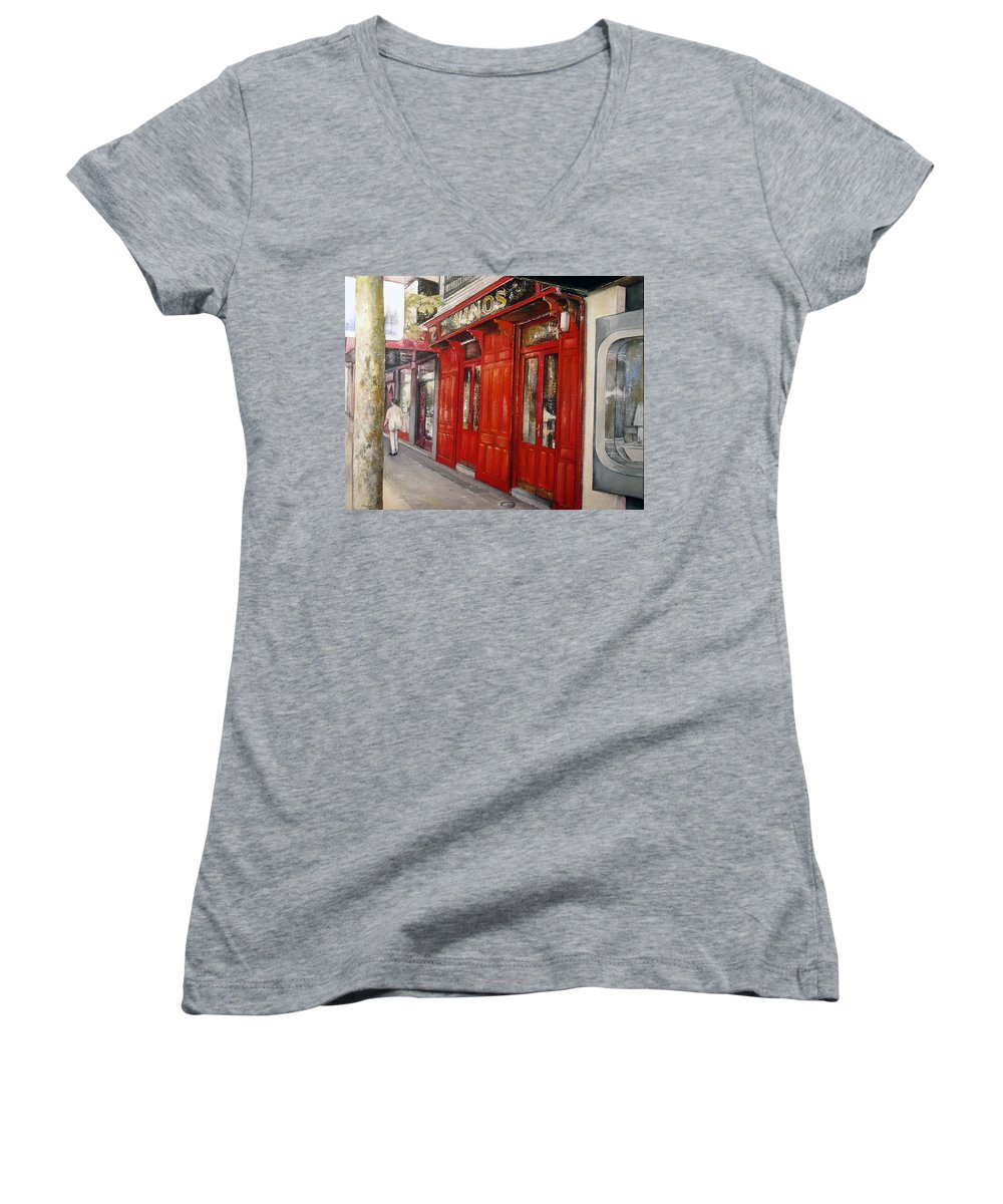 Urban Women's V-Neck T-Shirt featuring the painting Vinos Sagasta by Tomas Castano
