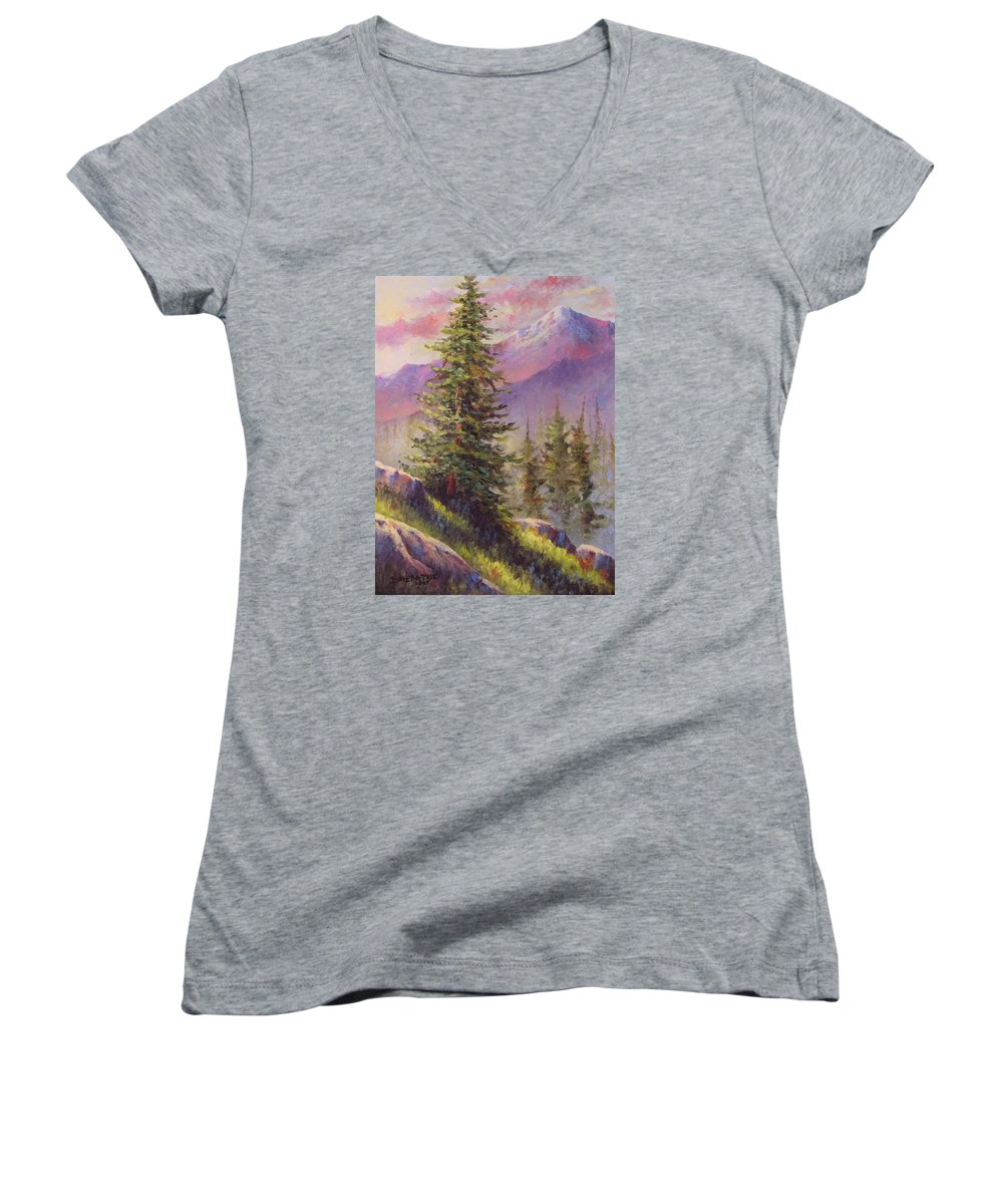 Mountain Women's V-Neck (Athletic Fit) featuring the painting Vista View by David G Paul