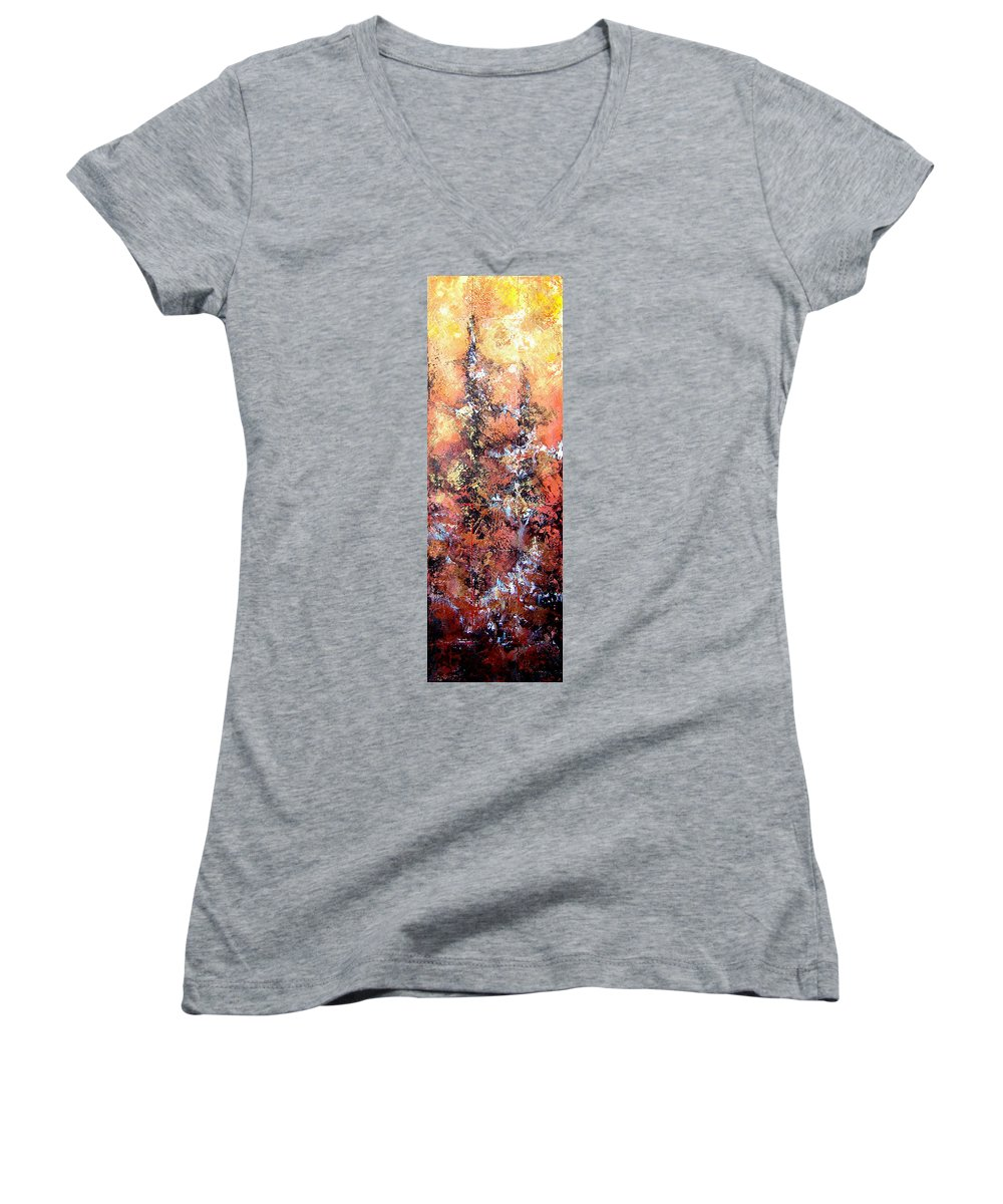 Tile Women's V-Neck (Athletic Fit) featuring the painting Wait For Sleep by Shadia Derbyshire