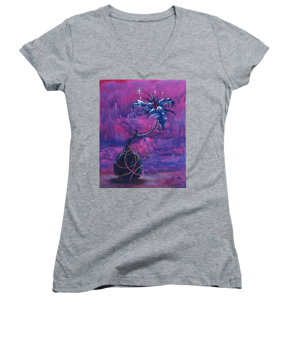 Lily Women's V-Neck (Athletic Fit) featuring the painting Waiting Flower by Jennifer McDuffie