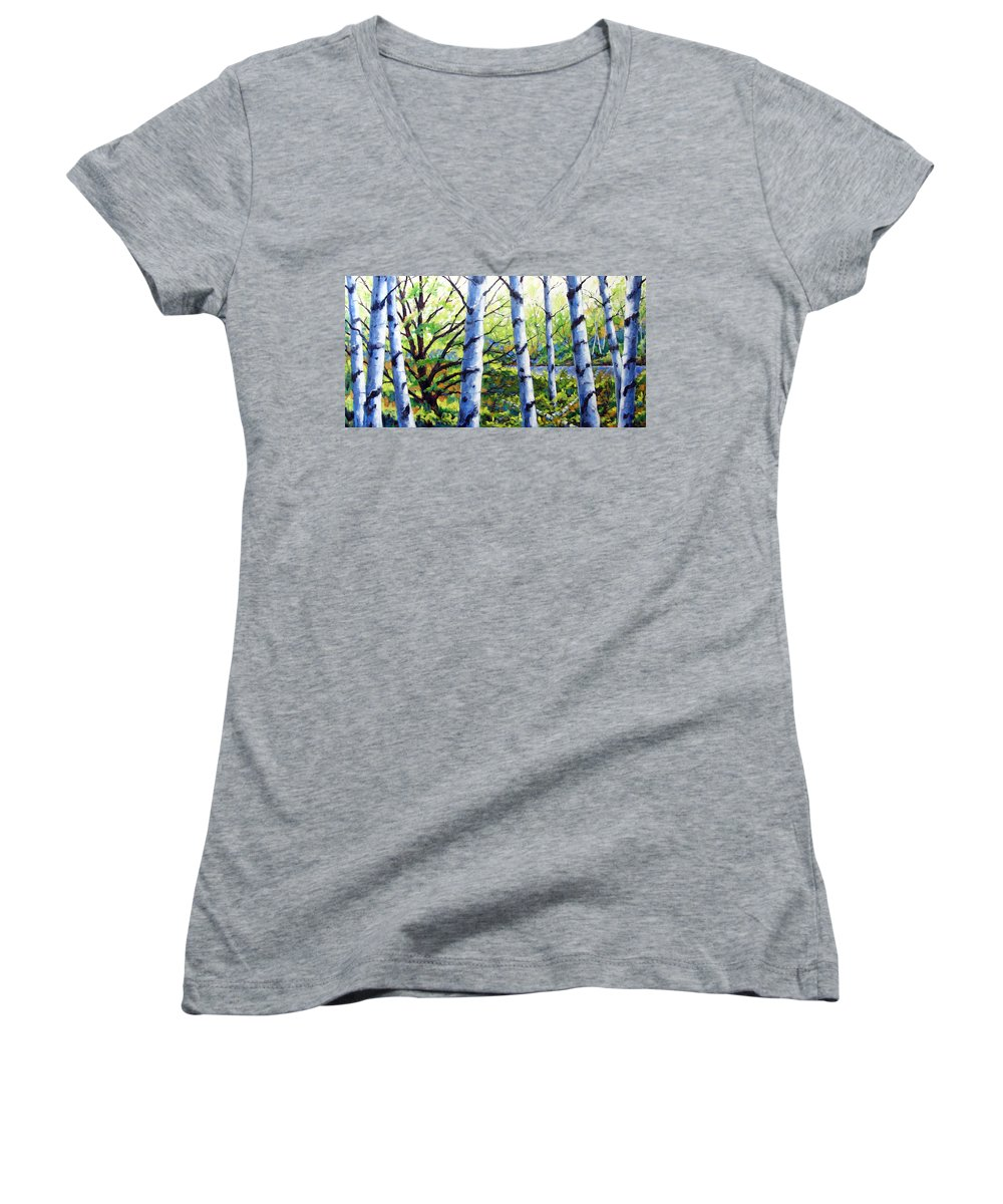 Lake Women's V-Neck T-Shirt featuring the painting Walk To The Lake by Richard T Pranke